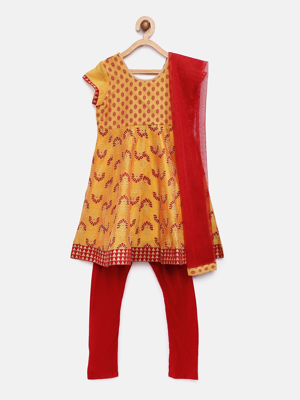 Ethnicity | Mustard Ethnicity Chanderi Kids Girls Kurta Set