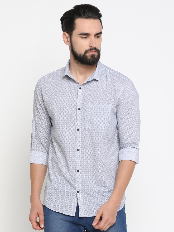 Showoff | White Showoff Mens Cotton Printed  Slim Casual Shirts