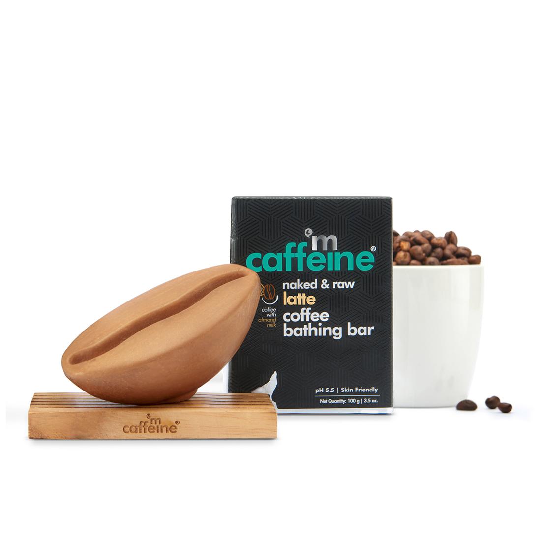 MCaffeine | mCaffeine Naked & Raw Latte Coffee Bathing Bar Soap for Moisturization with Almond Milk (100 g)
