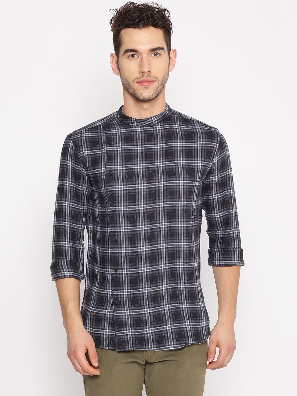 Showoff | SHOWOFF Men's  Cotton Casual Grey Checks Slim Fit Shirt