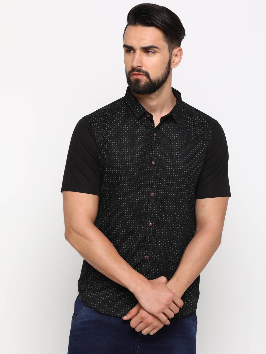 With | WITH Men's Black Cotton Printed SlimFit Shirt