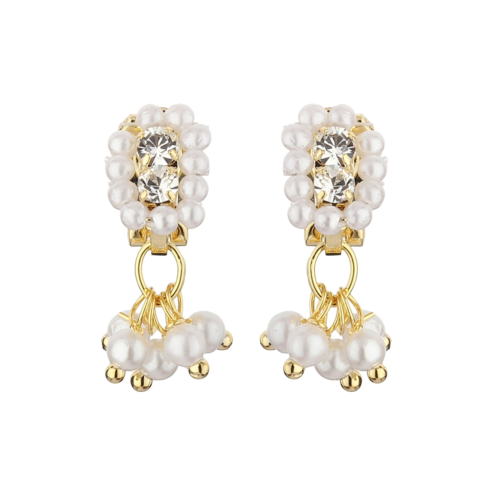 FirstBlush Clip On Earrings for Non Piearced Ears for Women & Girls; Plating: Gold; Color: White; Size: 20 X 8mm; Wt.: 2gm. (MIEC104M112)
