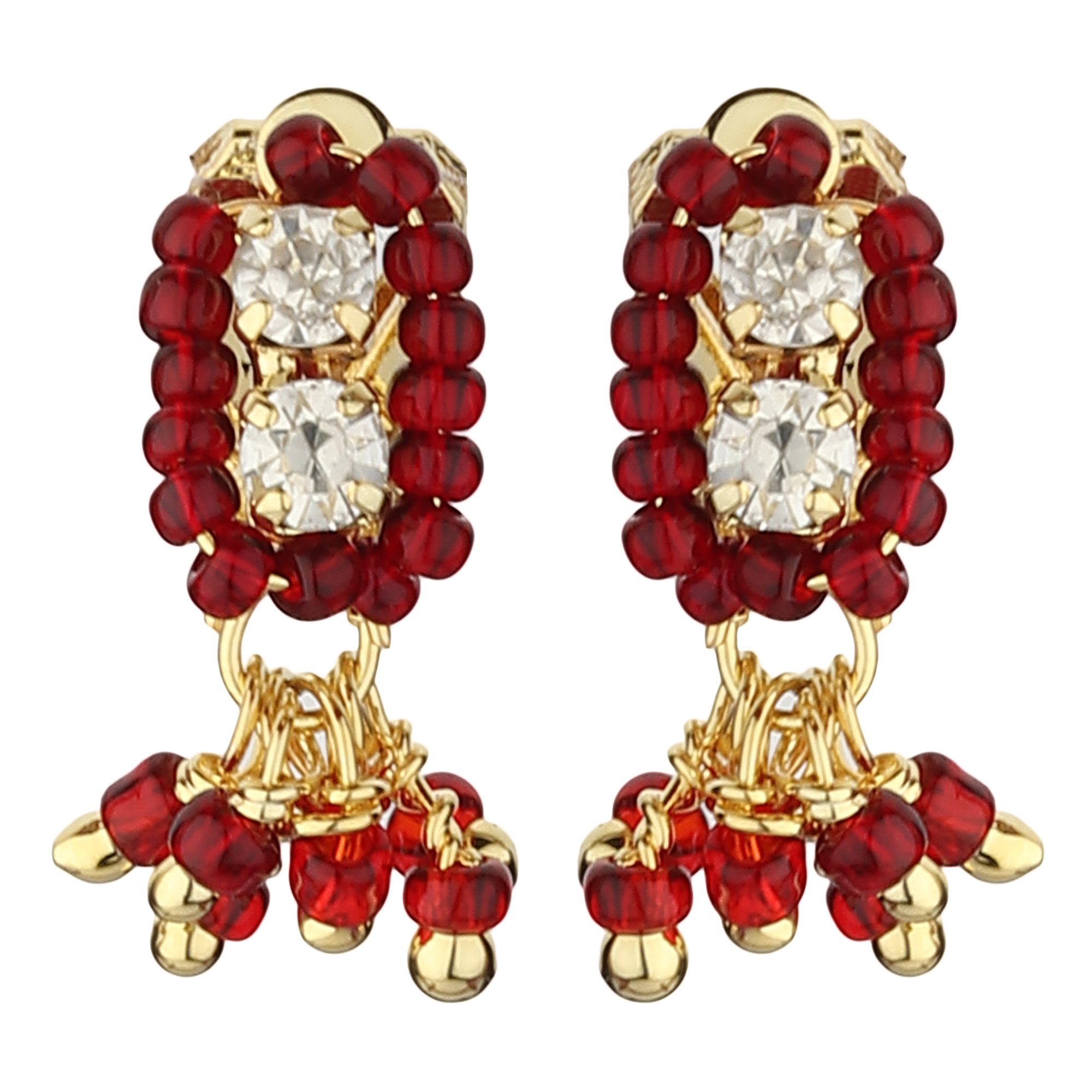 FirstBlush | FirstBlush Clip On Earrings for Non Piearced Ears for Women & Girls; Plating: Gold; Color: Maroon; Size: 20 X 8mm; Wt.: 2gm. (MIEC104M114)