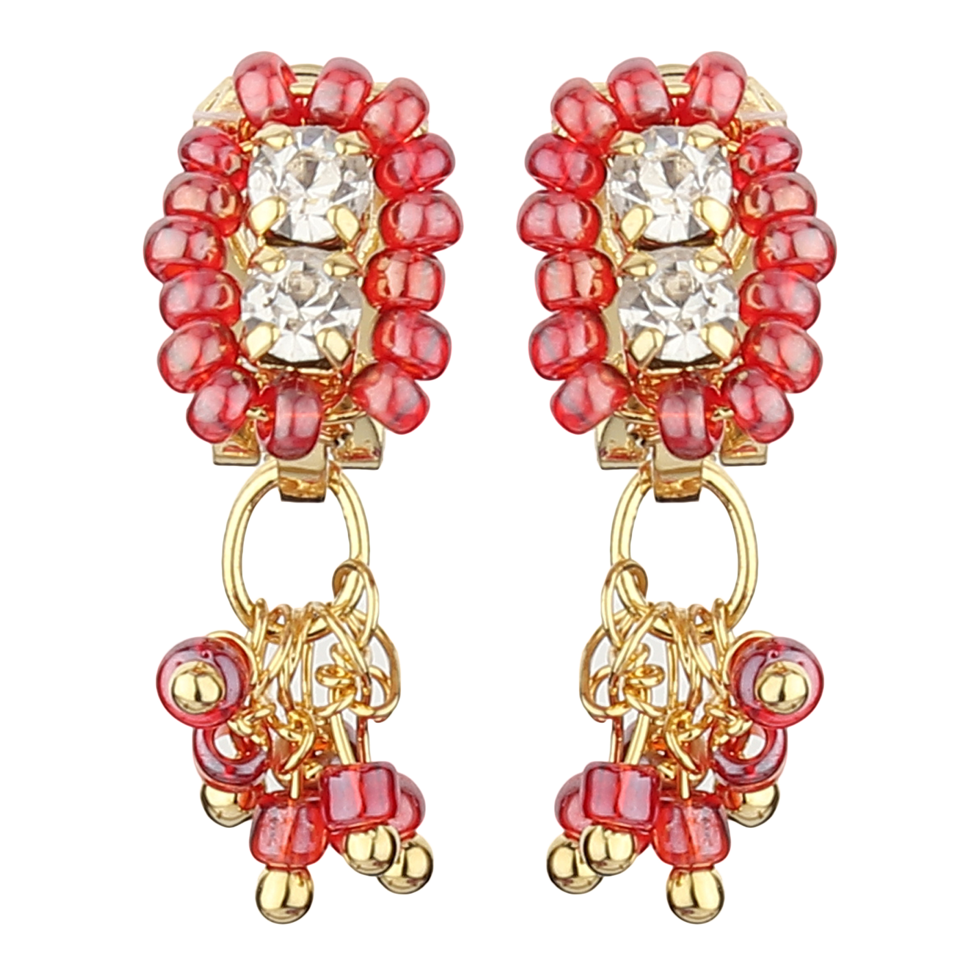 FirstBlush Clip On Earrings for Non Piearced Ears for Women & Girls; Plating: Gold; Color: Blush (Pink); Size: 20 X 8mm; Wt.: 2gm. (MIEC104M116)