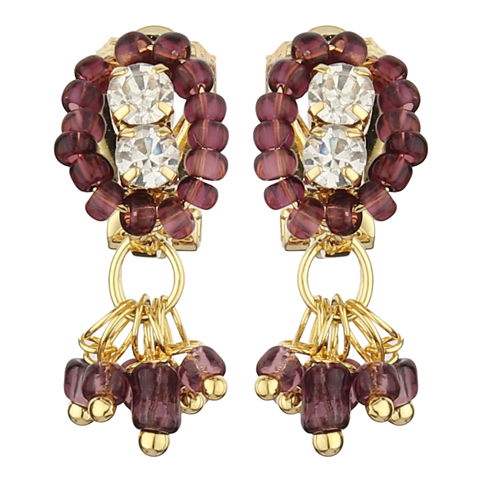 FirstBlush Clip On Earrings for Non Piearced Ears for Women & Girls; Plating: Gold; Color: Purple; Size: 20 X 8mm; Wt.: 2gm. (MIEC104M117)