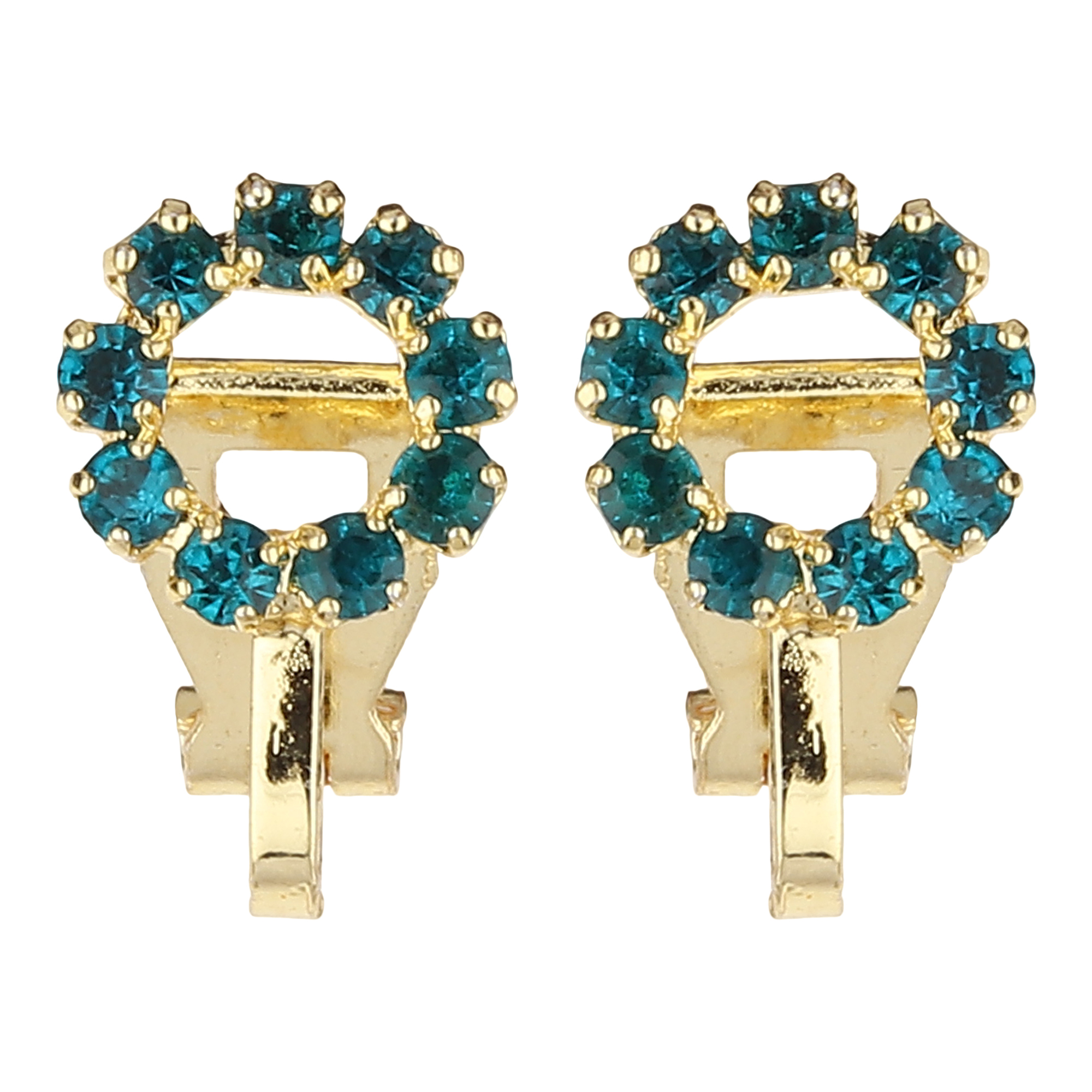 FirstBlush | FirstBlush Clip On Earrings for Non Piearced Ears for Women & Girls; Plating: Gold; Color: Aqua (Blue); Size: 10 X 10mm; Wt.: 3gm. (MIEC104M123)