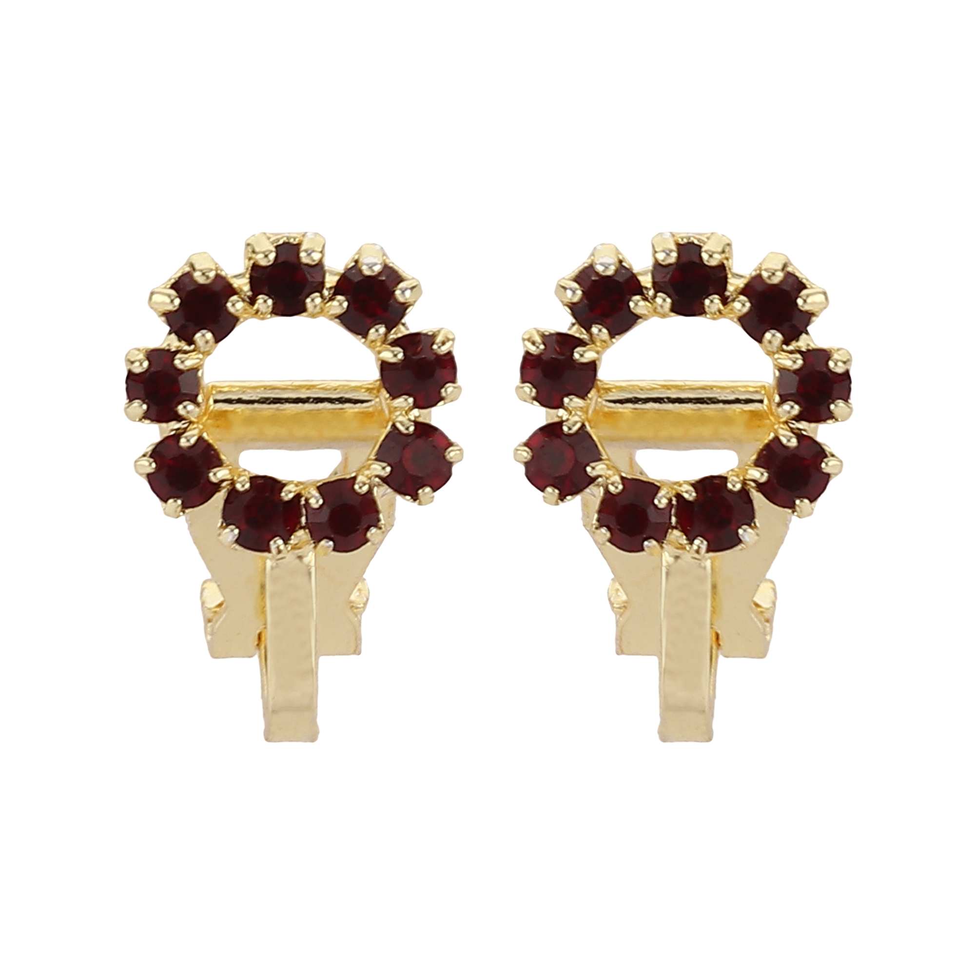 FirstBlush   FirstBlush Clip On Earrings for Non Piearced Ears for Women & Girls; Plating: Gold; Color: Maroon; Size: 10 X 10mm; Wt.: 3gm. (MIEC104M126)