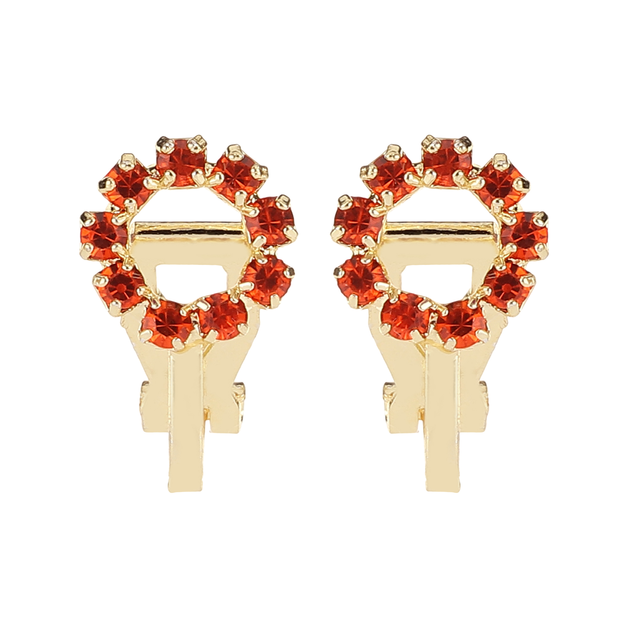 FirstBlush | FirstBlush Clip On Earrings for Non Piearced Ears for Women & Girls; Plating: Gold; Color: Orange; Size: 10 X 10mm; Wt.: 3gm. (MIEC104M127)