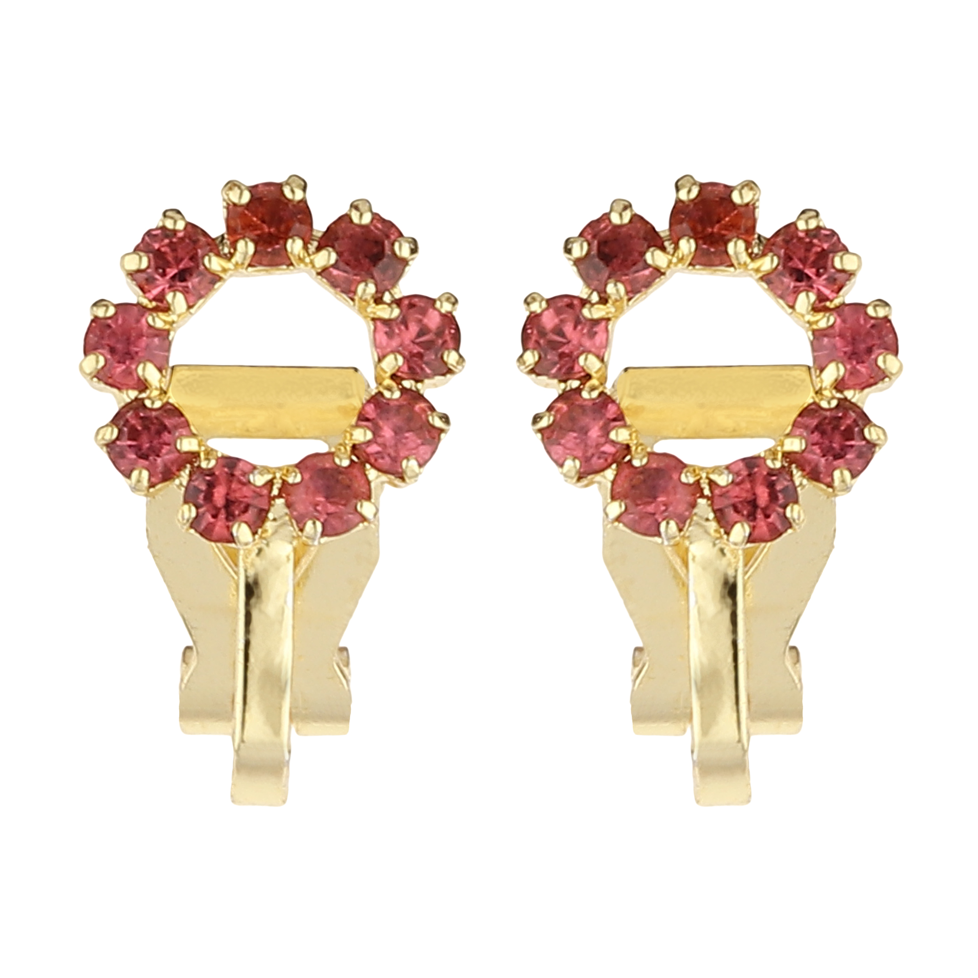 FirstBlush   FirstBlush Clip On Earrings for Non Piearced Ears for Women & Girls; Plating: Gold; Color: Blush (Pink); Size: 10 X 10mm; Wt.: 3gm. (MIEC104M130)