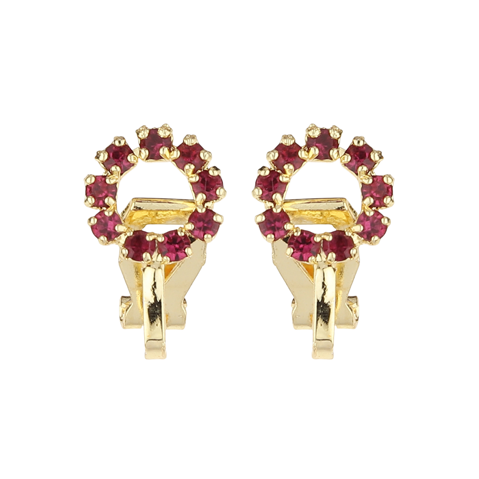 FirstBlush   FirstBlush Clip On Earrings for Non Piearced Ears for Women & Girls; Plating: Gold; Color: Magenta (Pink); Size: 10 X 10mm; Wt.: 3gm. (MIEC104M131)