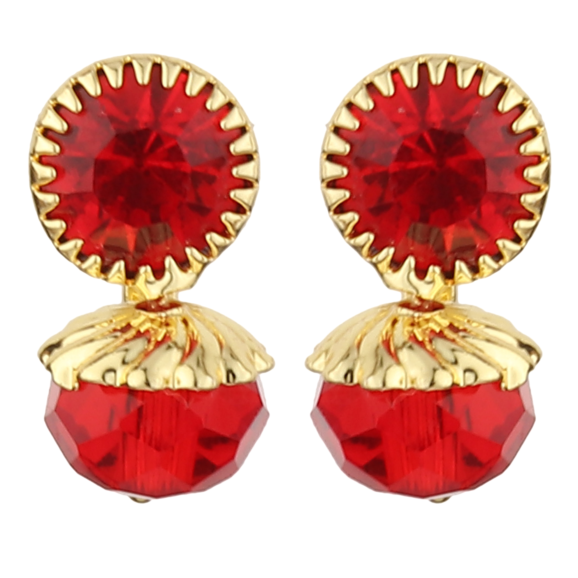 FirstBlush | FirstBlush Clip On Earrings for Non Piearced Ears for Women & Girls; Plating: Gold; Color: Red; Size: 15 X 10mm; Wt.: 3gm. (MIEC104M135)