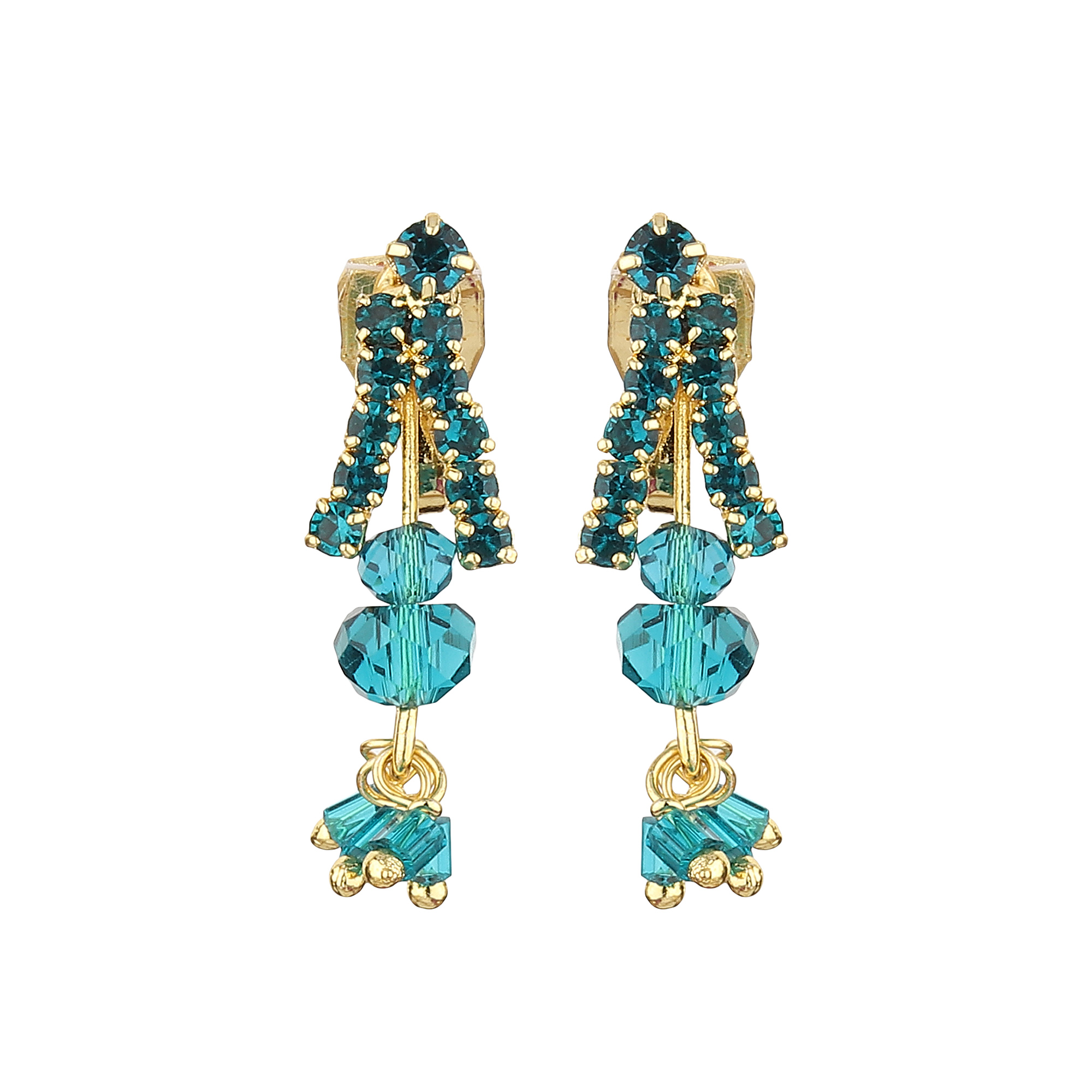 FirstBlush | FirstBlush Clip On Earrings for Non Piearced Ears for Women & Girls; Plating: Gold; Color: Aqua (Blue); Size: 30 X 10mm; Wt.: 3gm. (MIEC104M142)