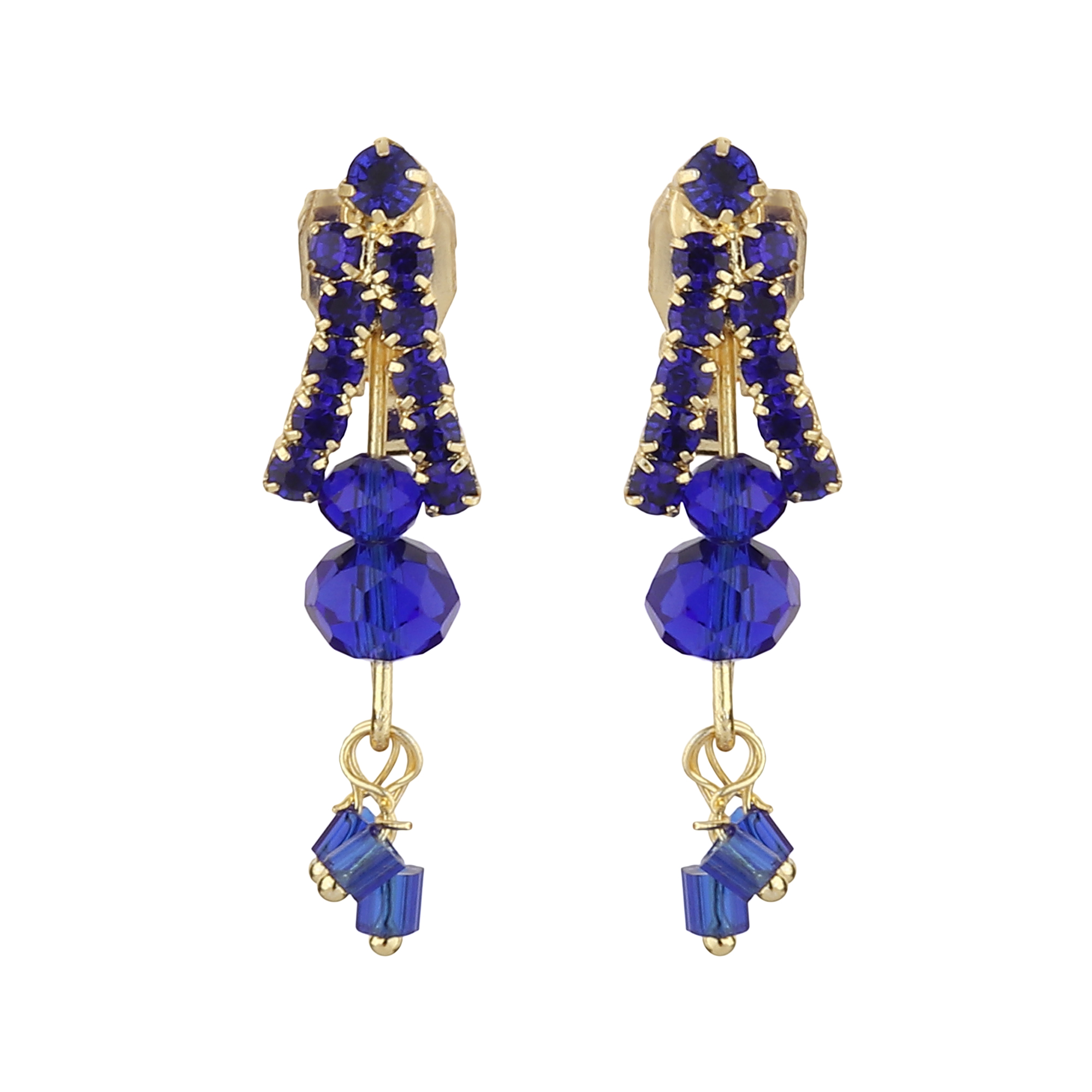 FirstBlush | FirstBlush Clip On Earrings for Non Piearced Ears for Women & Girls; Plating: Gold; Color: Navy (Blue); Size: 30 X 10mm; Wt.: 3gm. (MIEC104M143)