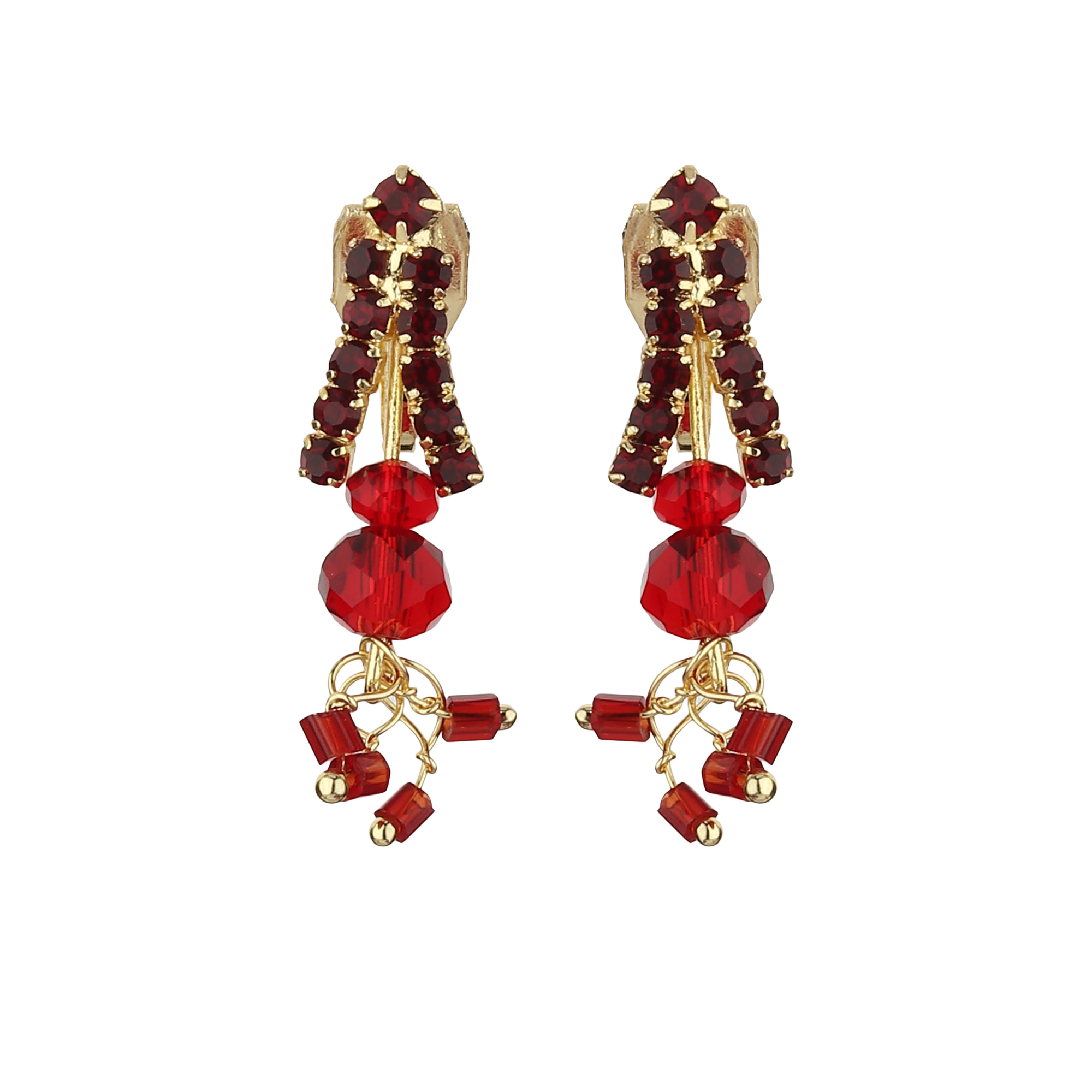 FirstBlush | FirstBlush Clip On Earrings for Non Piearced Ears for Women & Girls; Plating: Gold; Color: Maroon; Size: 30 X 10mm; Wt.: 3gm. (MIEC104M145)