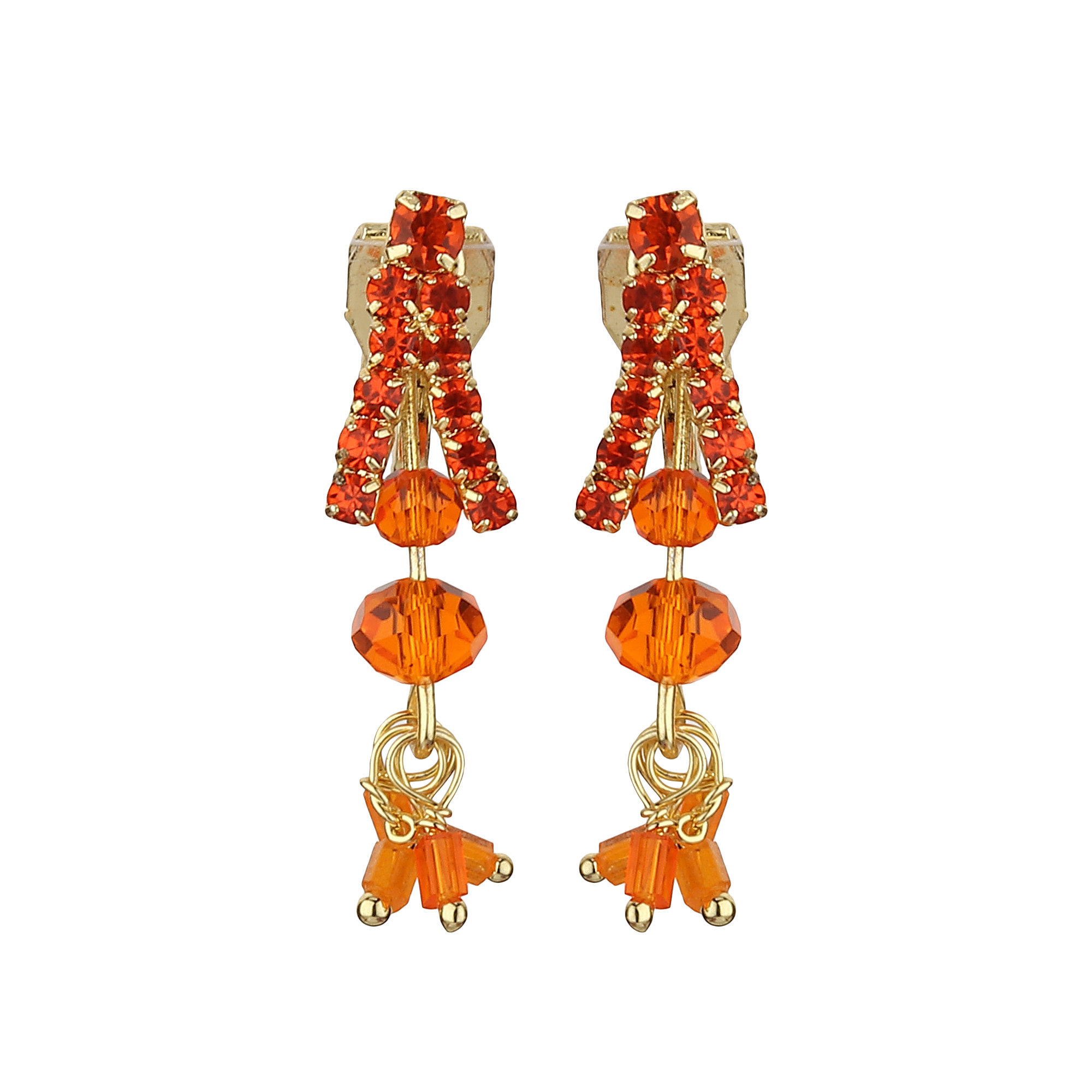 FirstBlush | FirstBlush Clip On Earrings for Non Piearced Ears for Women & Girls; Plating: Gold; Color: Orange; Size: 30 X 10mm; Wt.: 3gm. (MIEC104M146)