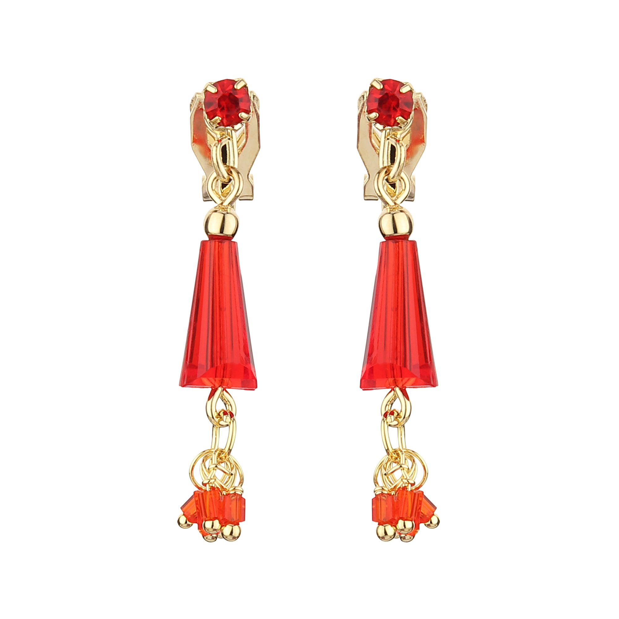 FirstBlush | FirstBlush Clip On Earrings for Non Piearced Ears for Women & Girls; Plating: Gold; Color: Red; Size: 35 X 5mm; Wt.: 3gm. (MIEC104M154)