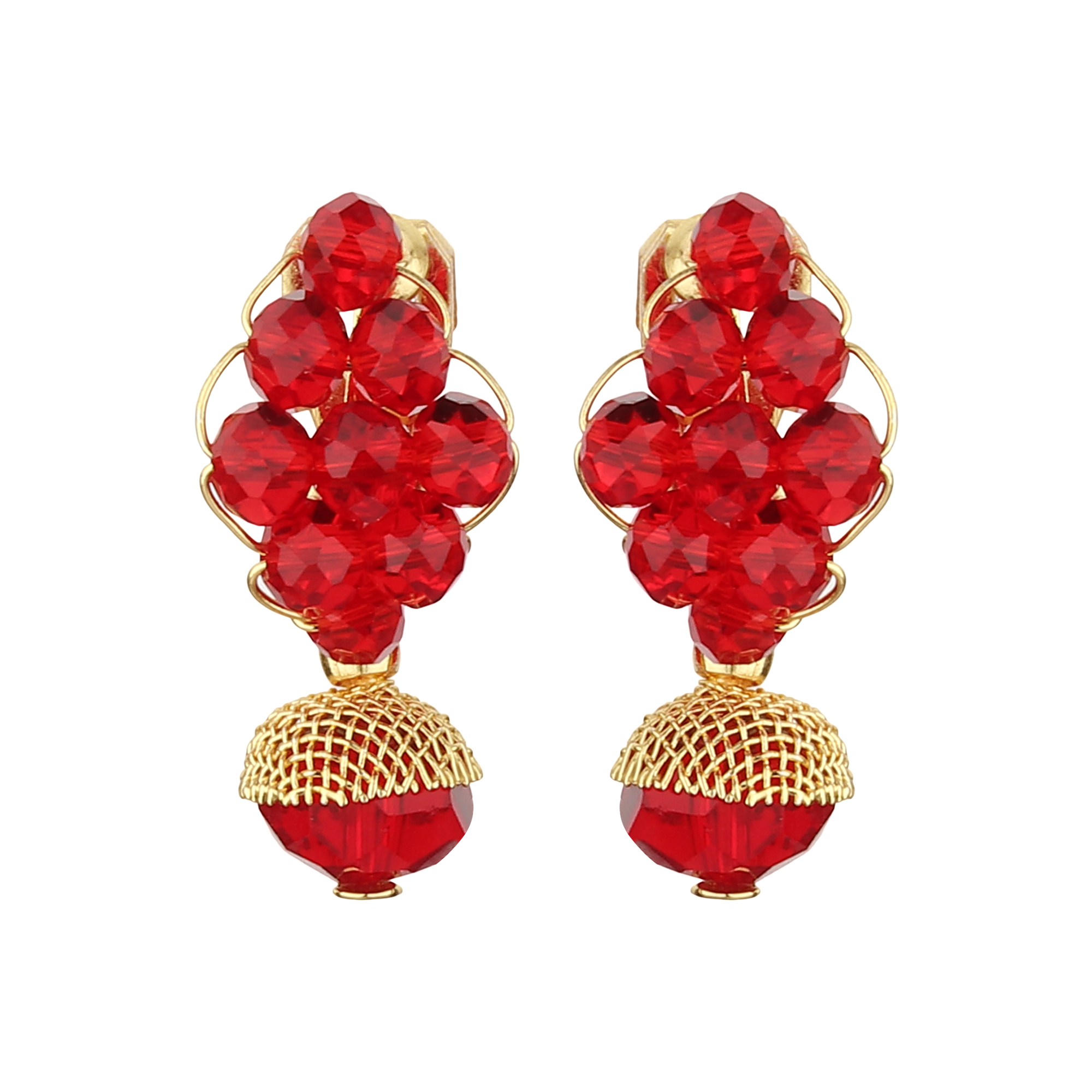 FirstBlush   FirstBlush Clip On Earrings for Non Piearced Ears for Women & Girls; Plating: Gold; Color: Red; Size: 28 X 11mm; Wt.: 4gm. (MIEC104M165)