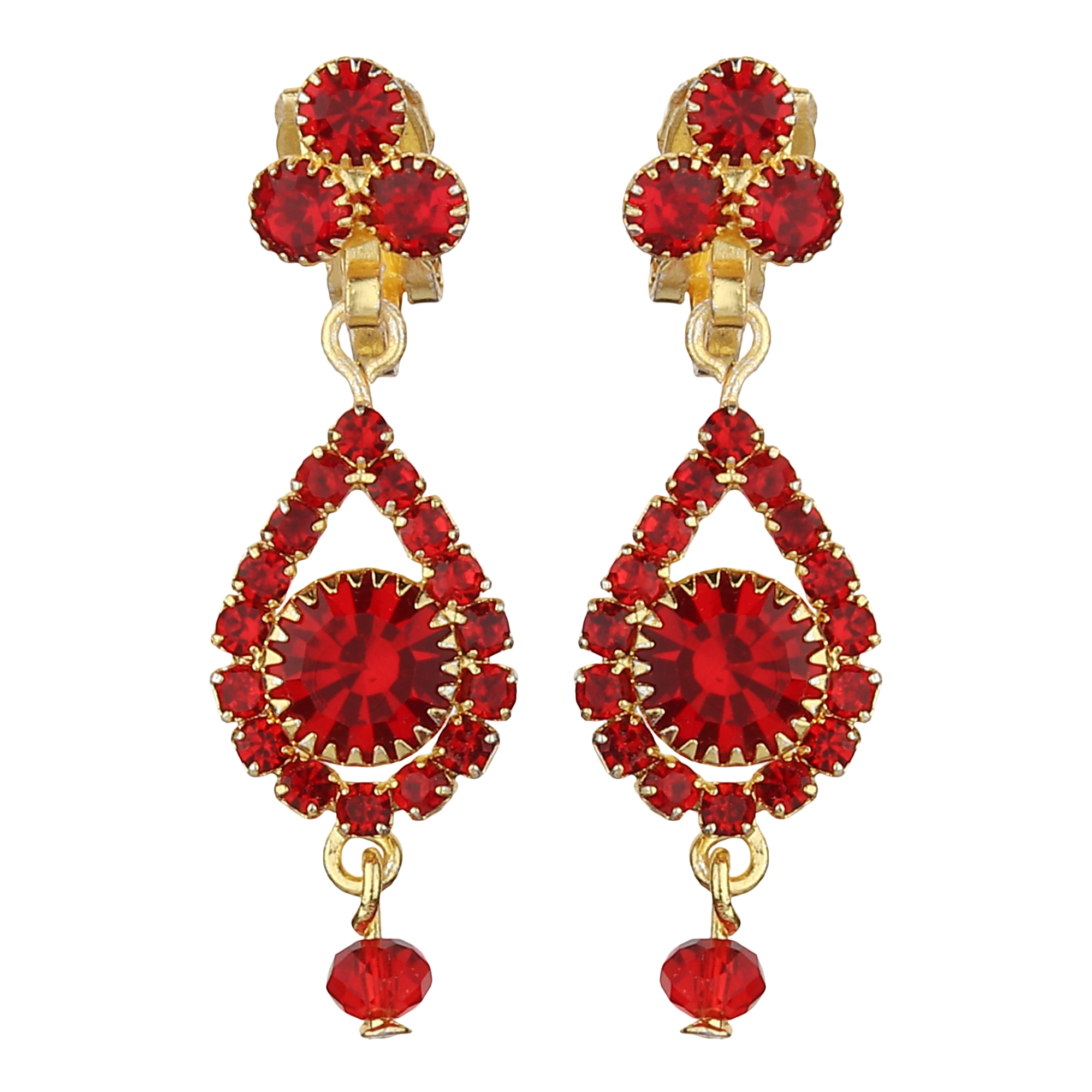 FirstBlush | FirstBlush Clip On Earrings for Non Piearced Ears for Women & Girls; Plating: Gold; Color: Red; Size: 35 X 11mm; Wt.: 4gm. (MIEC104M171)