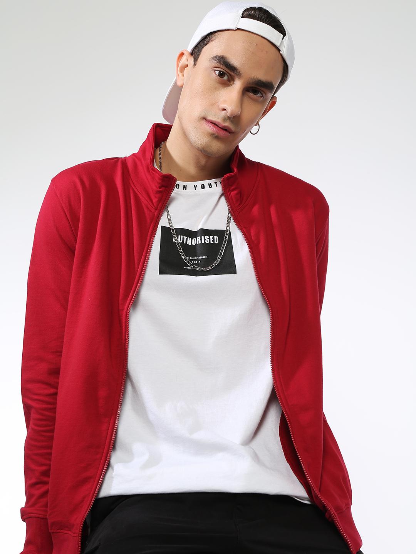 Blue Saint   Blue Saint Men's Red Regular Fit Sweatshirts