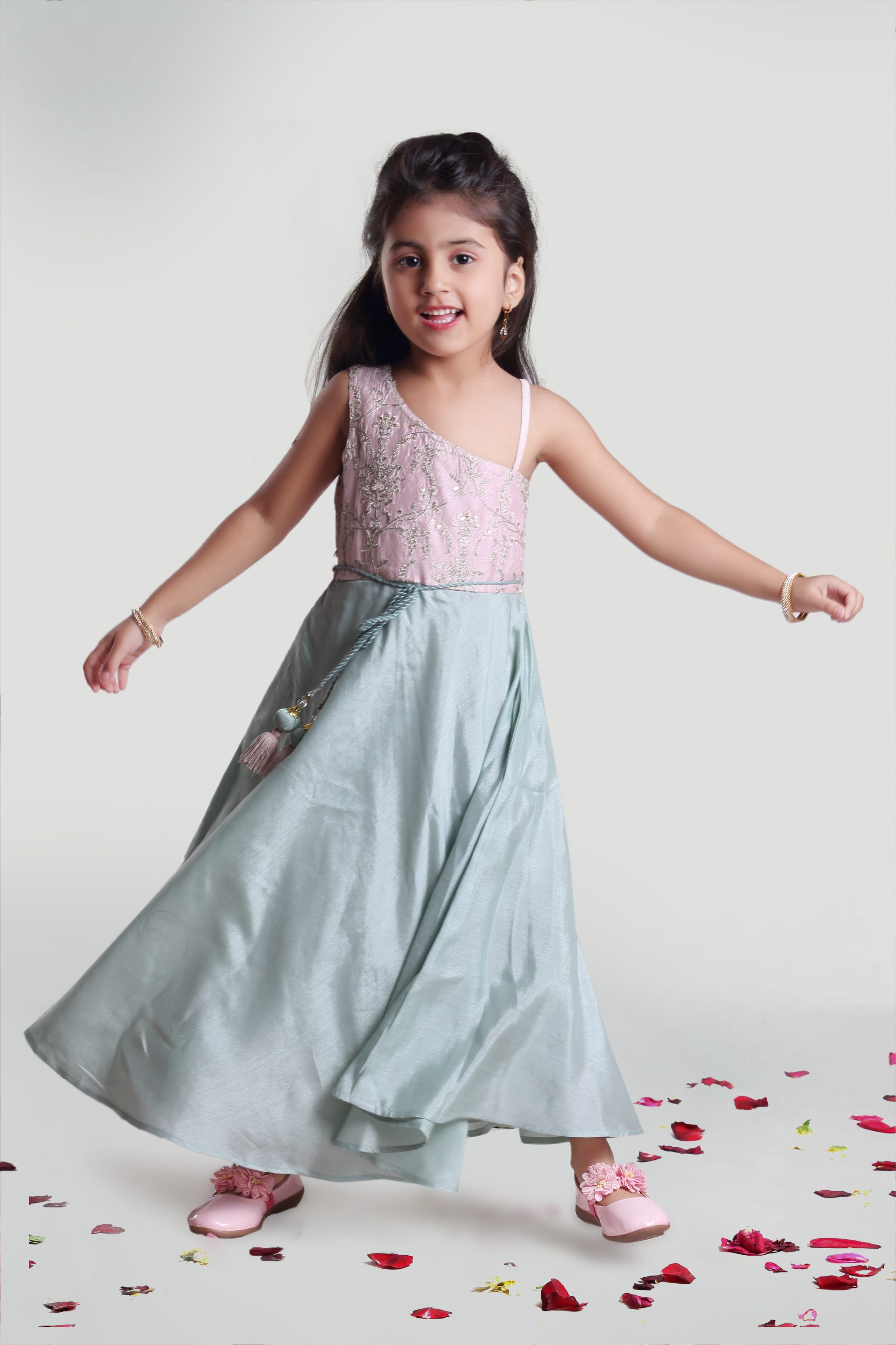 MINI CHIC | Girls Sea Green and Pastel Pink Party Gown