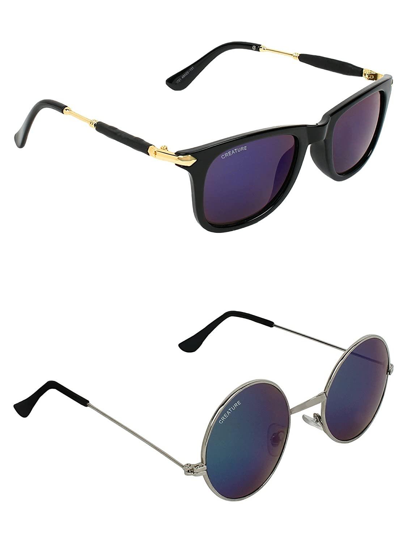CREATURE | CREATURE Purple & Blue Round Sunglasses Combo with UV Protection (Lens-Purple & Blue|Frame-Black & Silver)