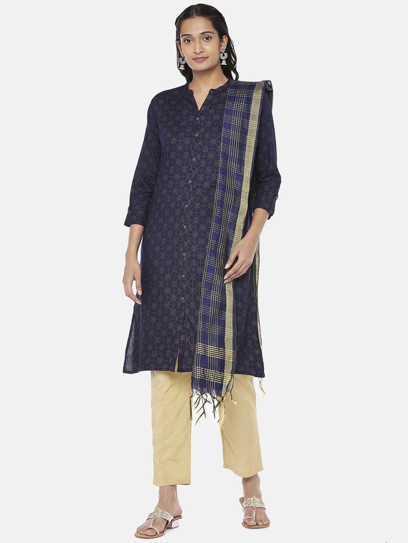 Ethnicity | Silk Blend  Straight Women Navy Dupatta