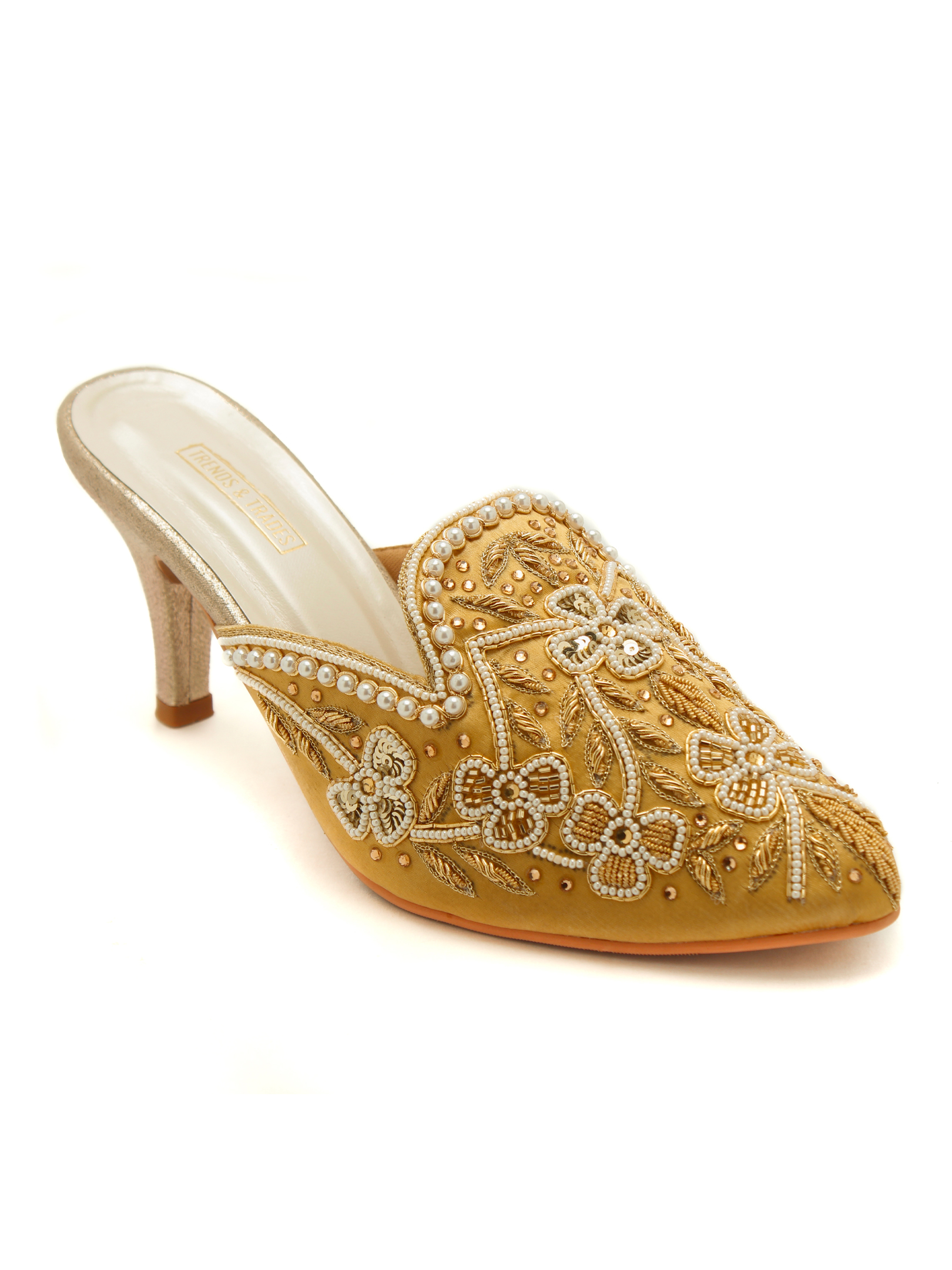 Trends & Trades | Women Mustard Embellished Heeled Mules