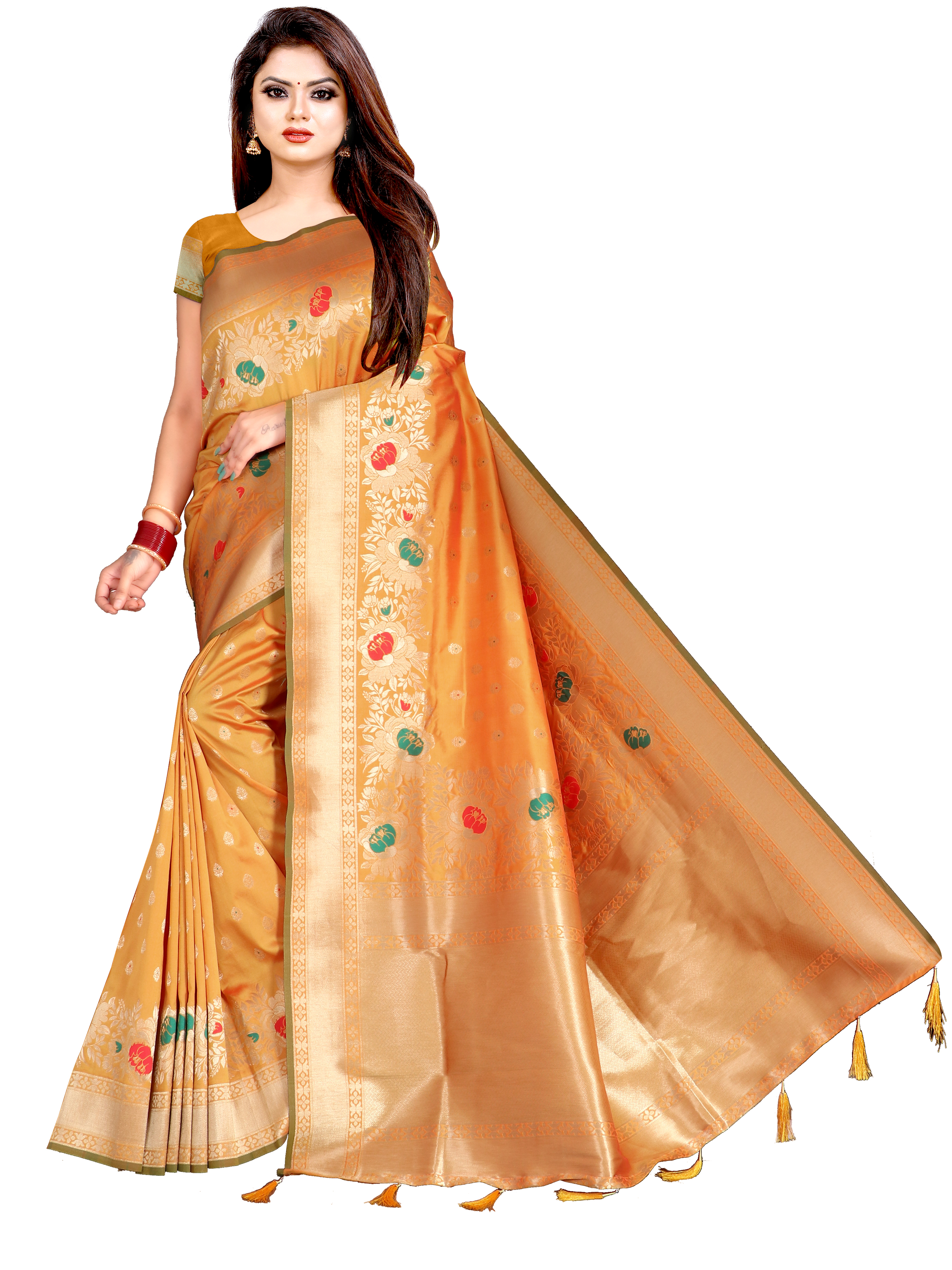 Glemora   Glemora Saree for Women Banarasi Silk With Blouse, Women Silk Sarees ( Yellow )
