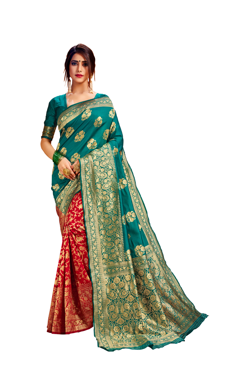 Glemora Green & Red Poly Cotton Milano Saree With Unstitched Blouse