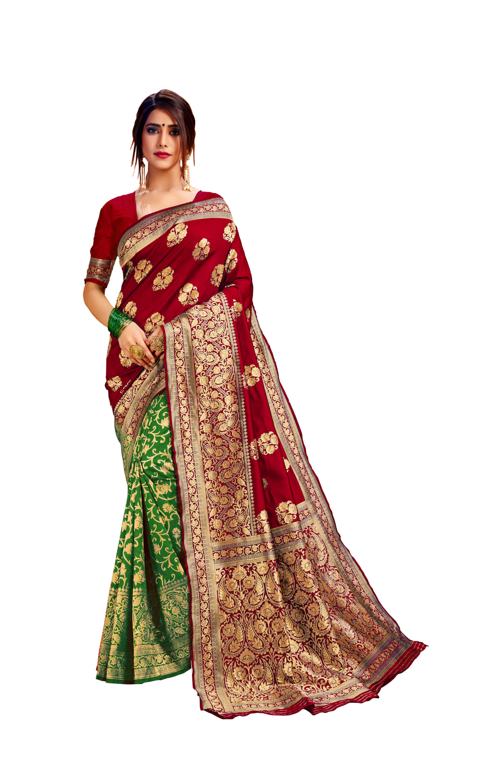 Glemora Red & Green Poly Cotton Milano Saree With Unstitched Blouse