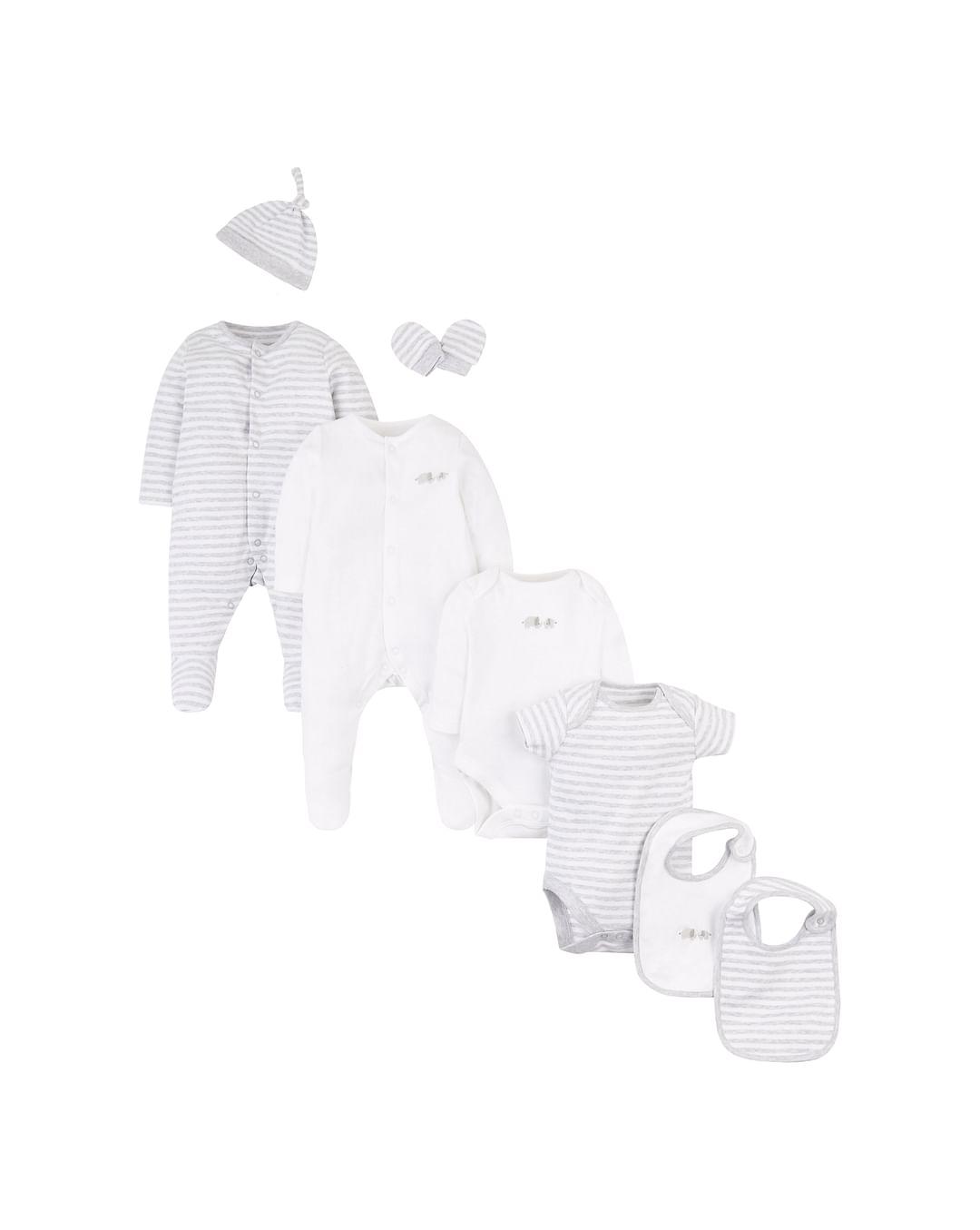 Mothercare | Unisex 8 Piece Set Stripe And Elephant Print - Grey White