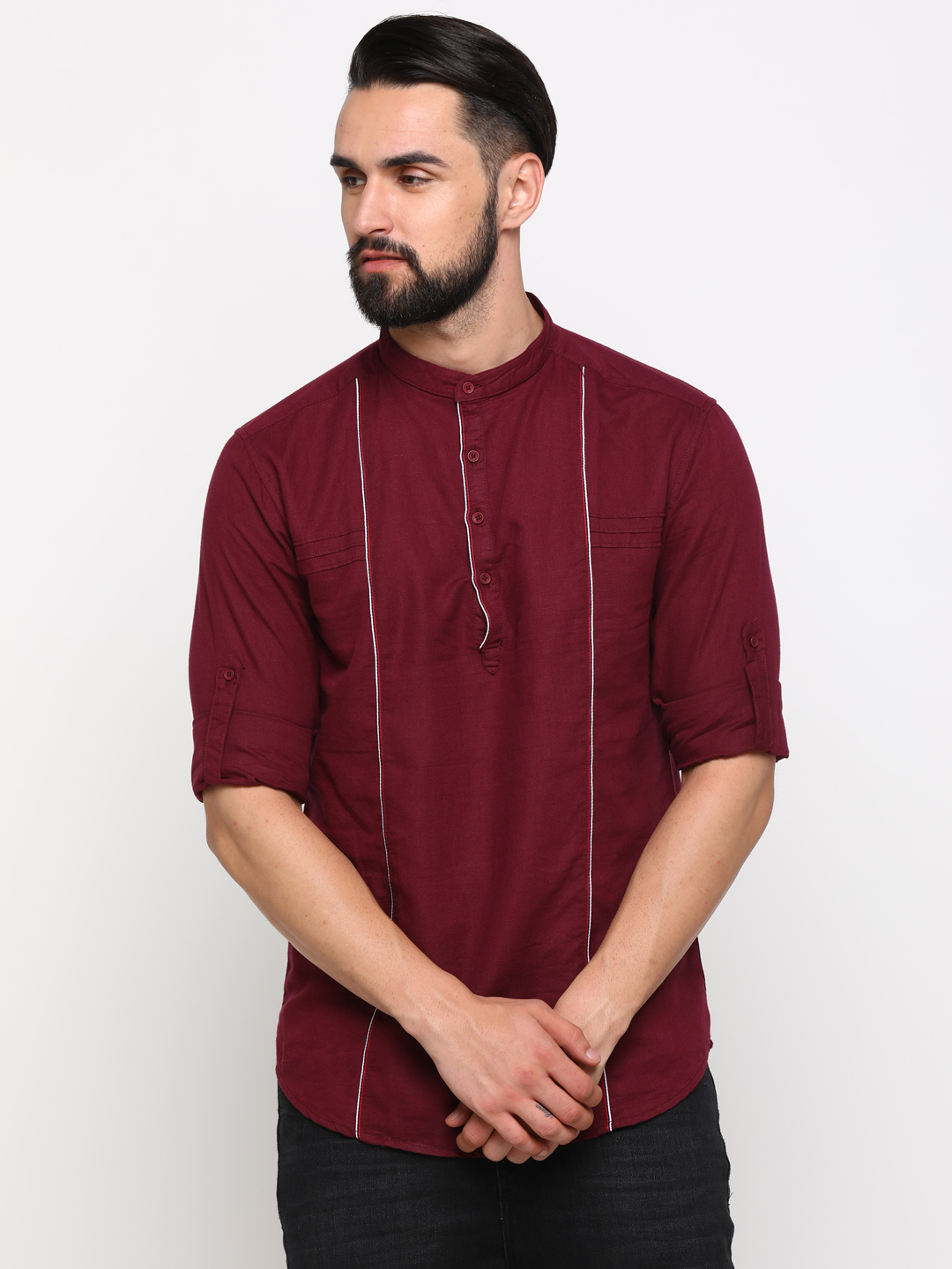 With | With Men's Maroon Cotton Solid SlimFit Shirt