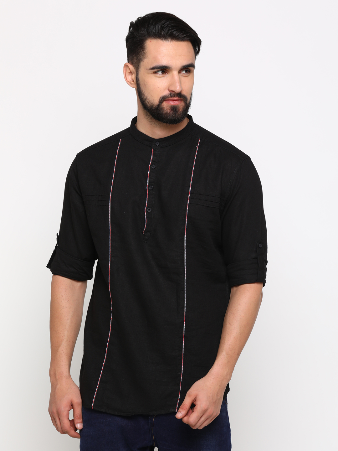 With | With Men's Black Cotton Solid SlimFit Shirt
