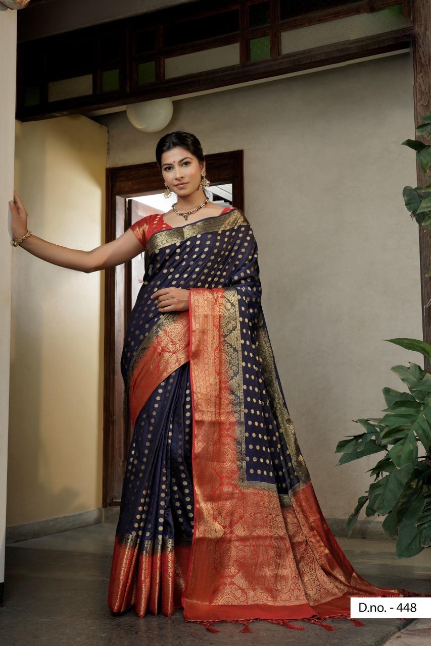 POONAM TEXTILE   Gorgeous Navy Blue Colored Festive Wear Woven Raw Silk Saree