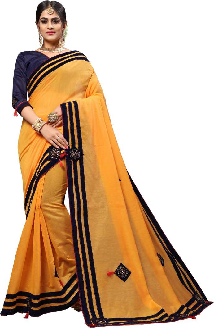 JINAL & JINAL   JJ Women's Cotton Saree with Embellished Stone Work and Applique Butta Embroidery - YELLOW