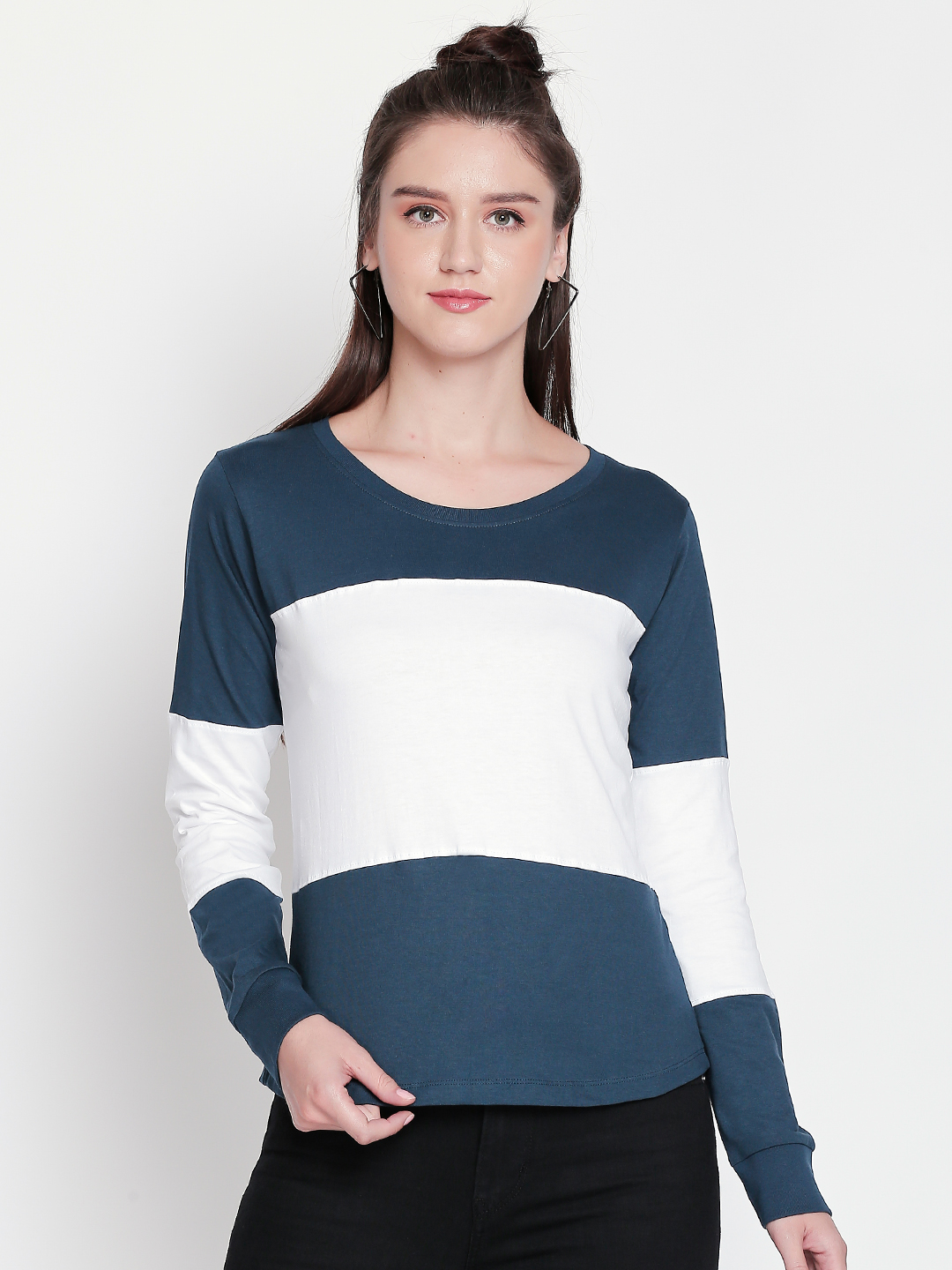 Jhankhi | Green and White Colorblock Full Sleeves T-Shirts