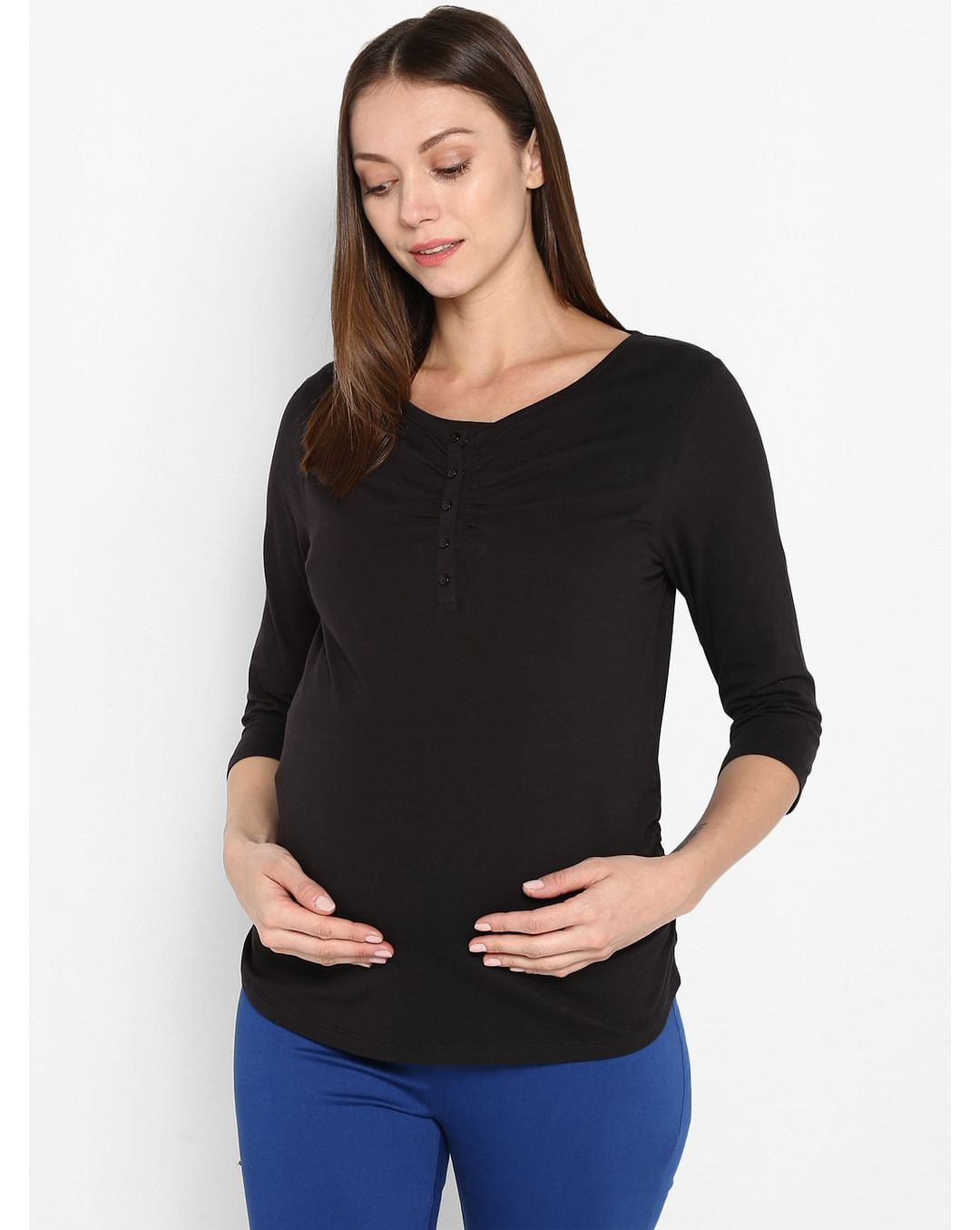 Mothercare | Momsoon women maternity three-fourth sleeves top- Black