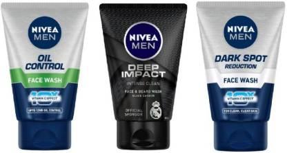 Nivea | NIVEA Men Oil Control 100 ml , Deep Impact 100 ml , Dark Spot Reduction 100 ml (Pack of 3) Face Wash  (100mlx3)