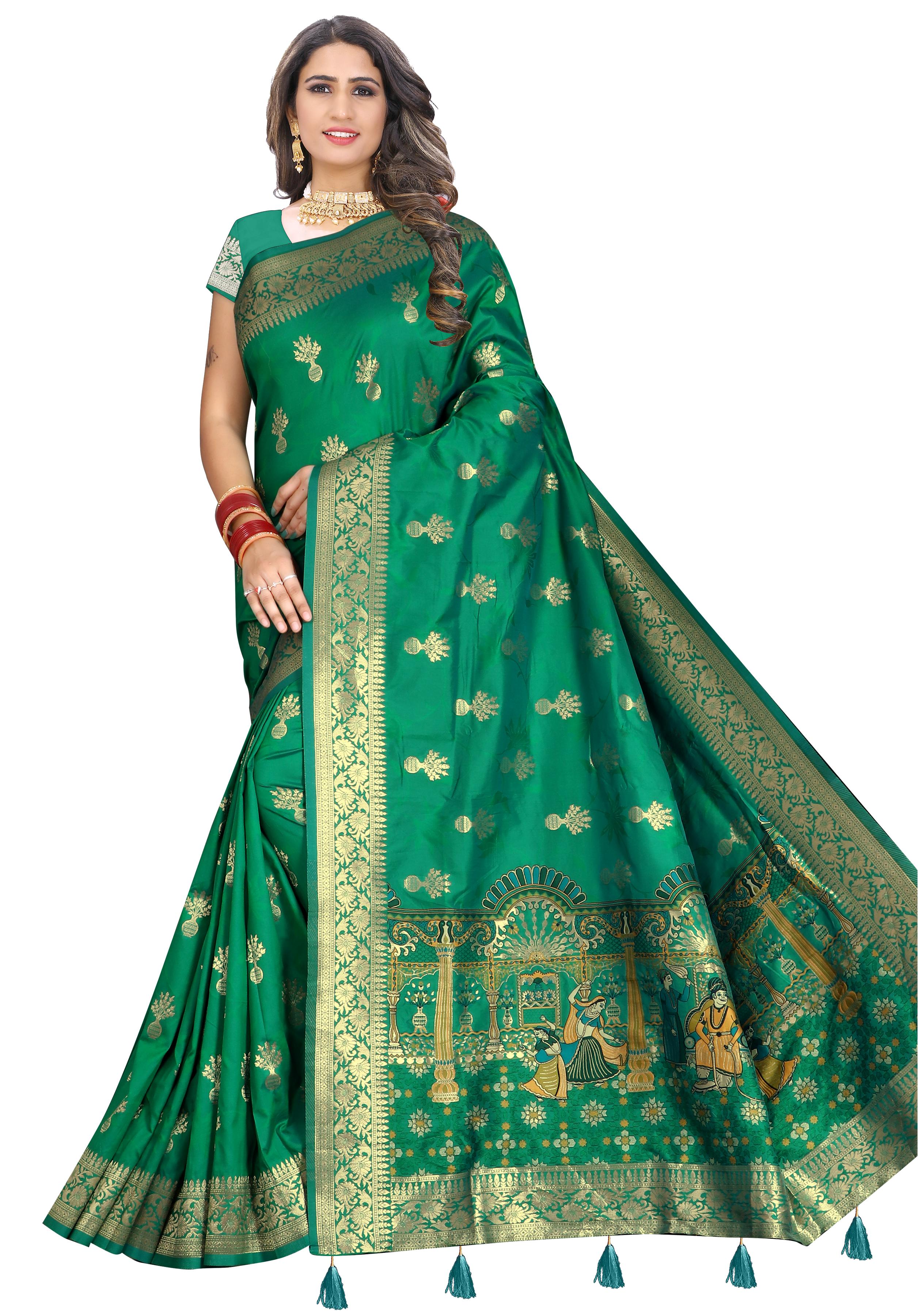 Glemora Saree for Women Banarasi Silk With Blouse, Women Silk Sarees ( Green )