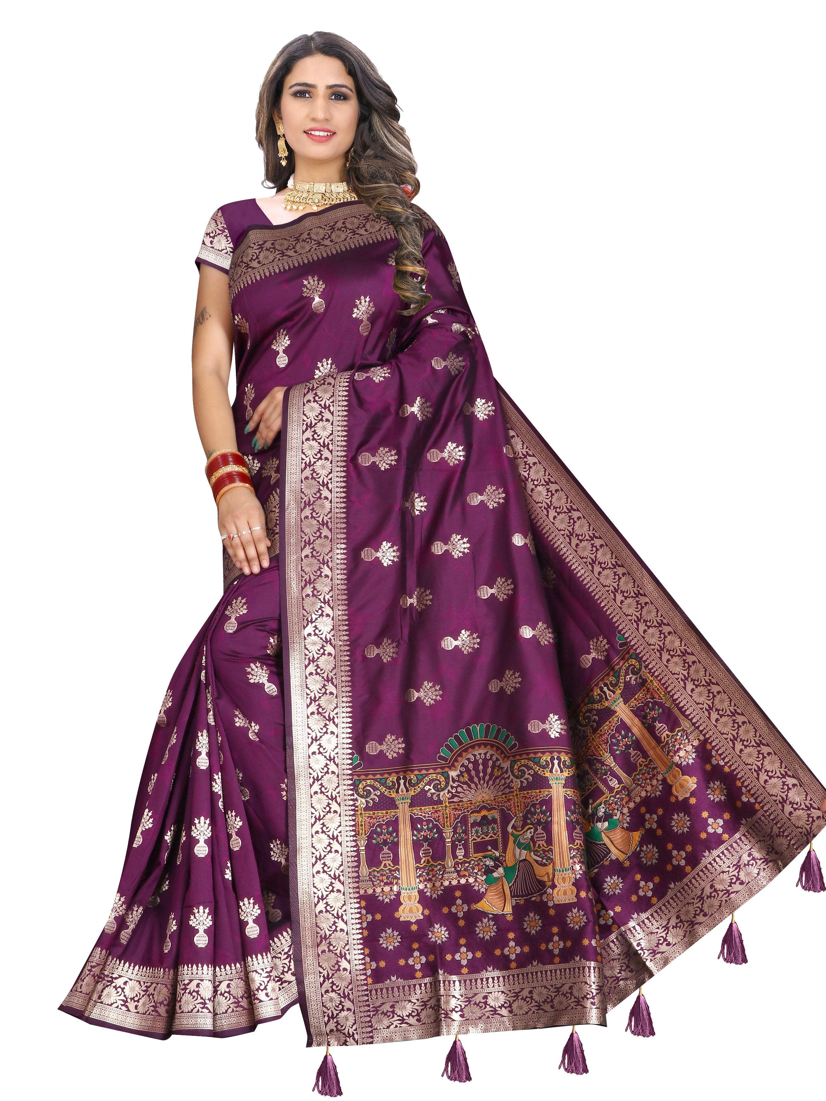 Glemora Saree for Women Banarasi Silk With Blouse, Women Silk Sarees ( Purple )