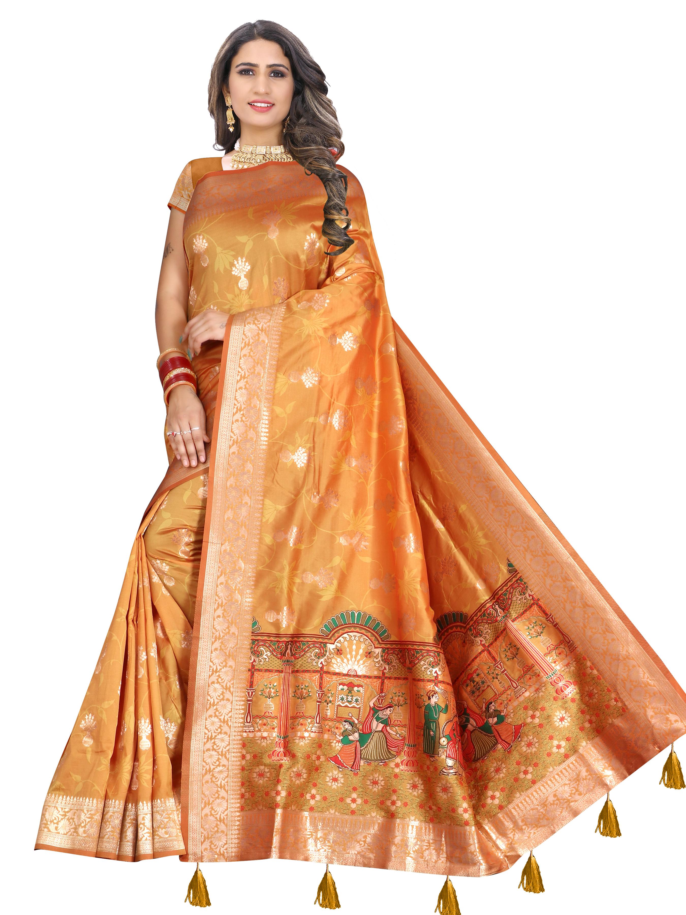 Glemora Saree for Women Banarasi Silk With Blouse, Women Silk Sarees ( Yellow )