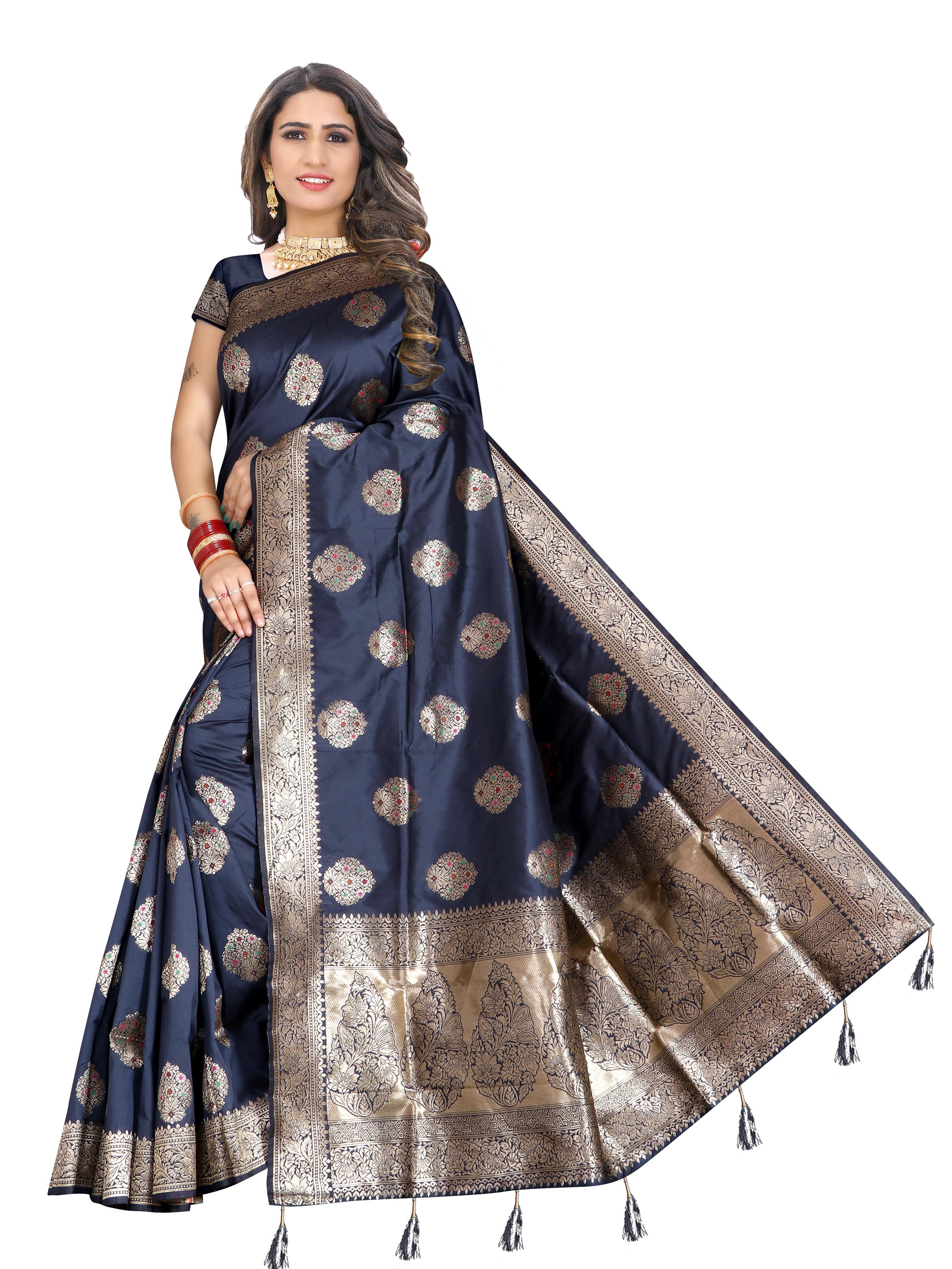 Glemora | Glemora Saree for Women Banarasi Silk With Blouse, Women Silk Sarees ( Grey )