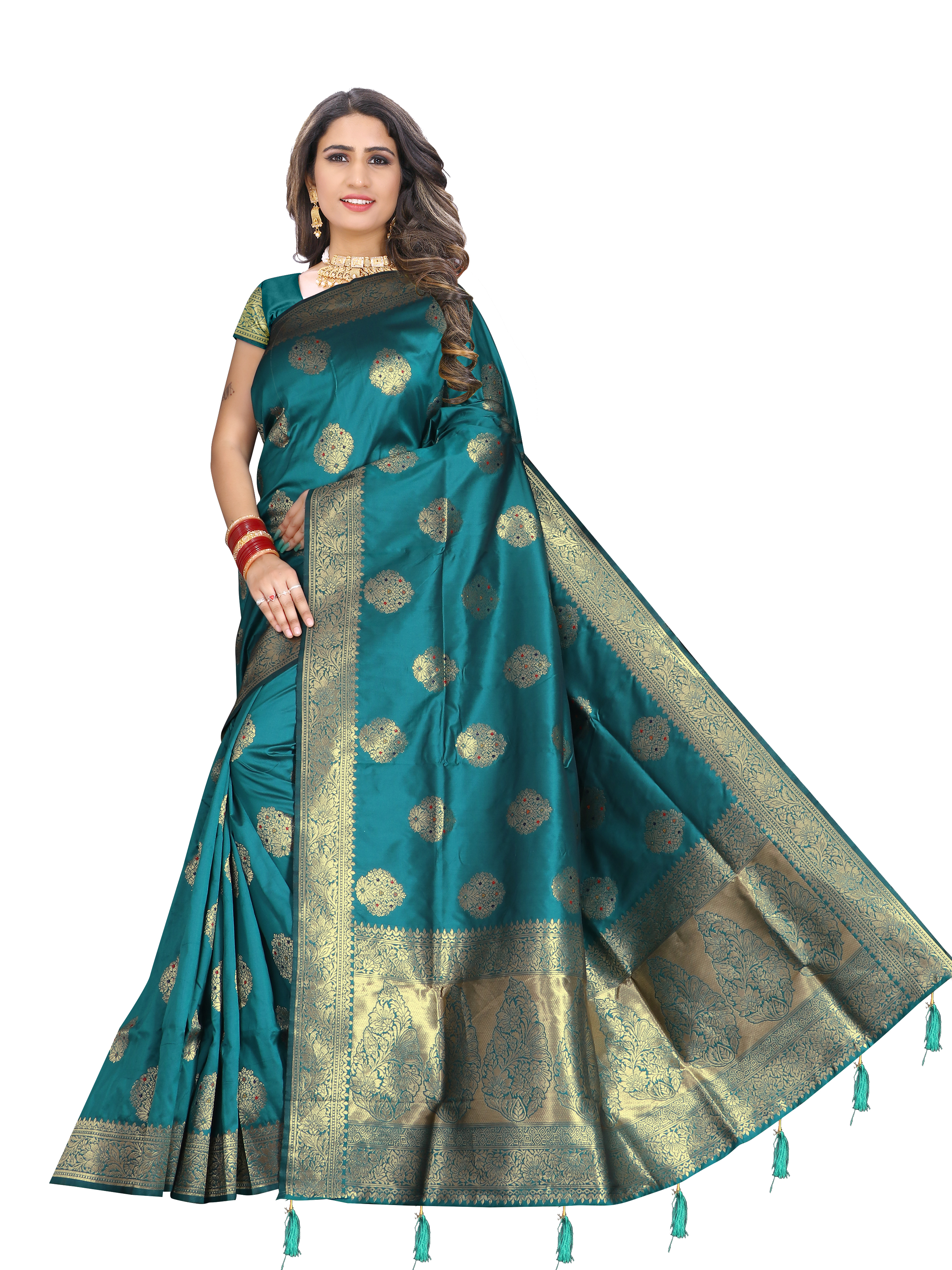 Glemora Saree for Women Banarasi Silk With Blouse, Women Silk Sarees ( Rama )
