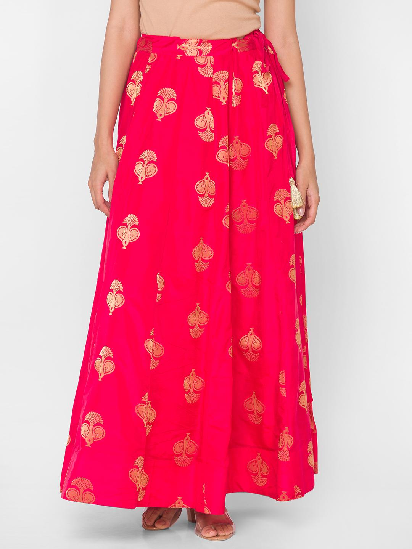 Ethnicity | Red Blended  Semi Festive Women Skirt