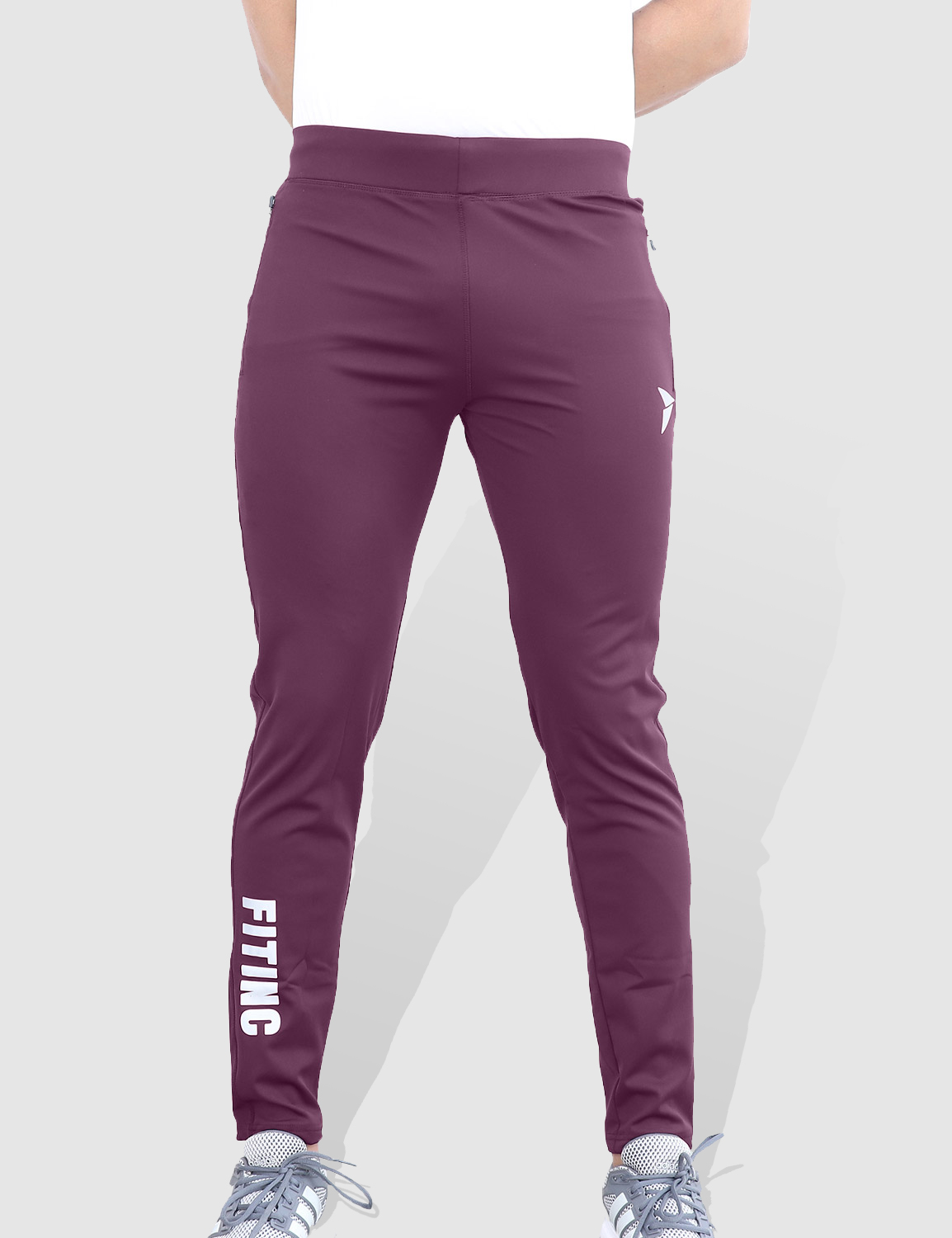 Fitinc | Fitinc Slim Fit Maroon Track Pant for Gym & Yoga with Zipper Pockets