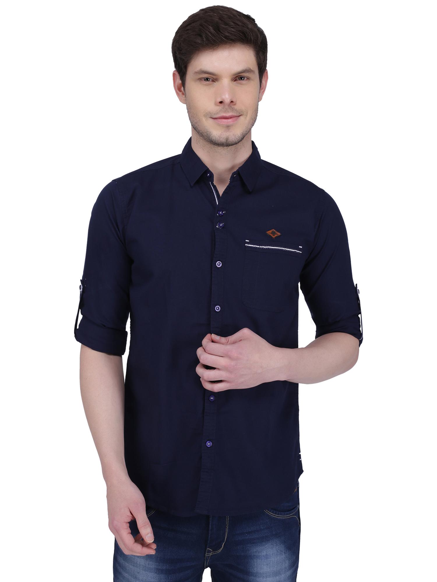 Kuons Avenue | Kuons Avenue Men's Indigo Linen Cotton Shirt- KACLFS1306IG