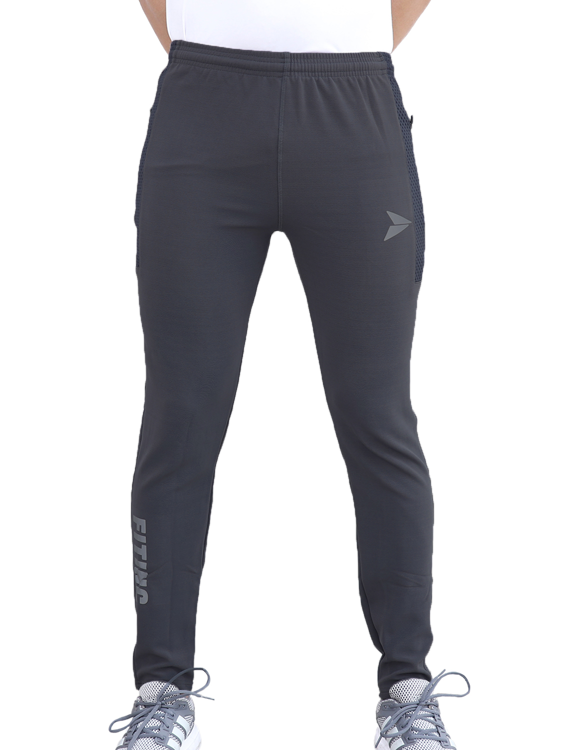 Fitinc   Fitinc Dobby Grey Track Pant for Men with Zipper Pockets