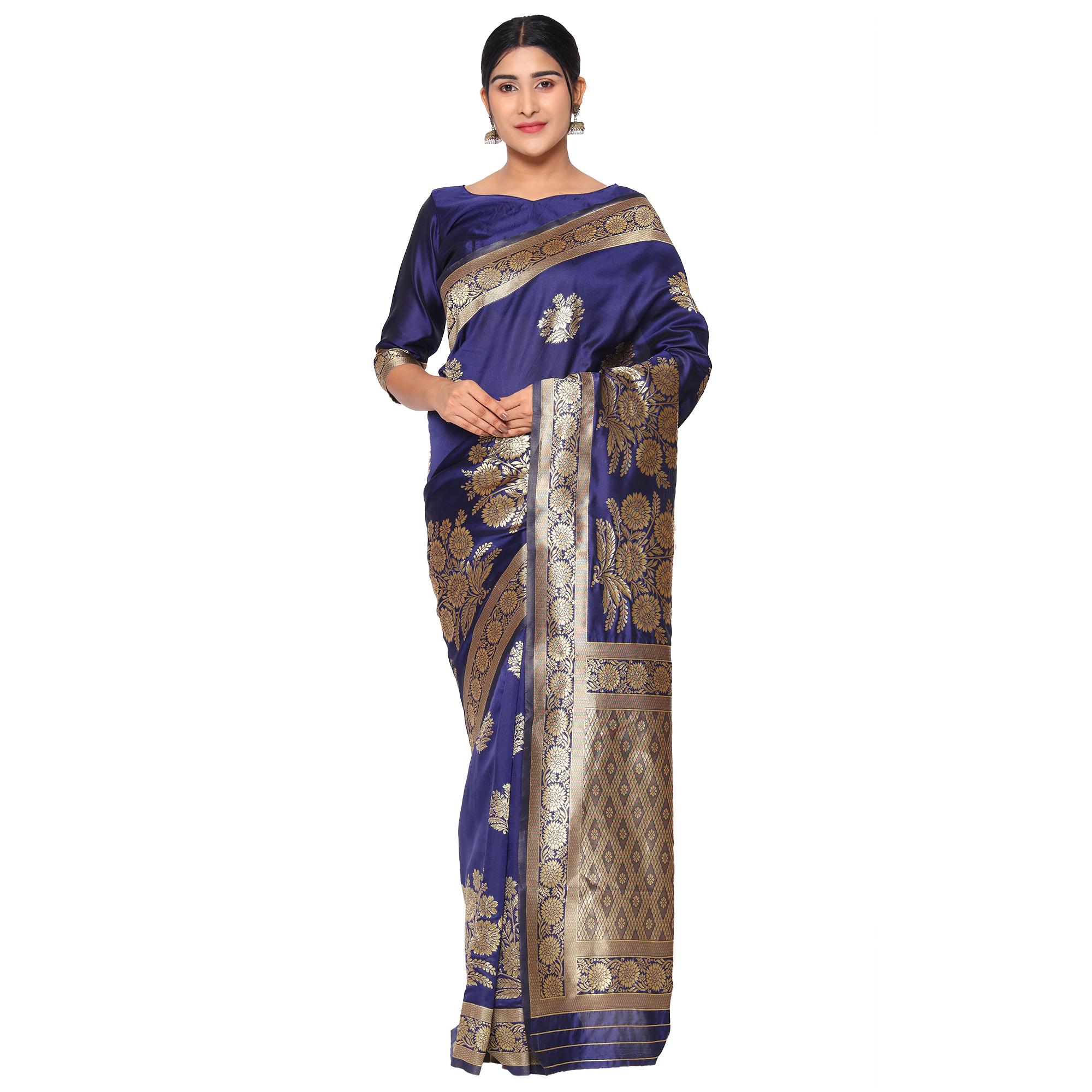Glemora | Glemora Nevy Blue Designer Ethnic Wear Silk Blend Banarasi Traditional Saree