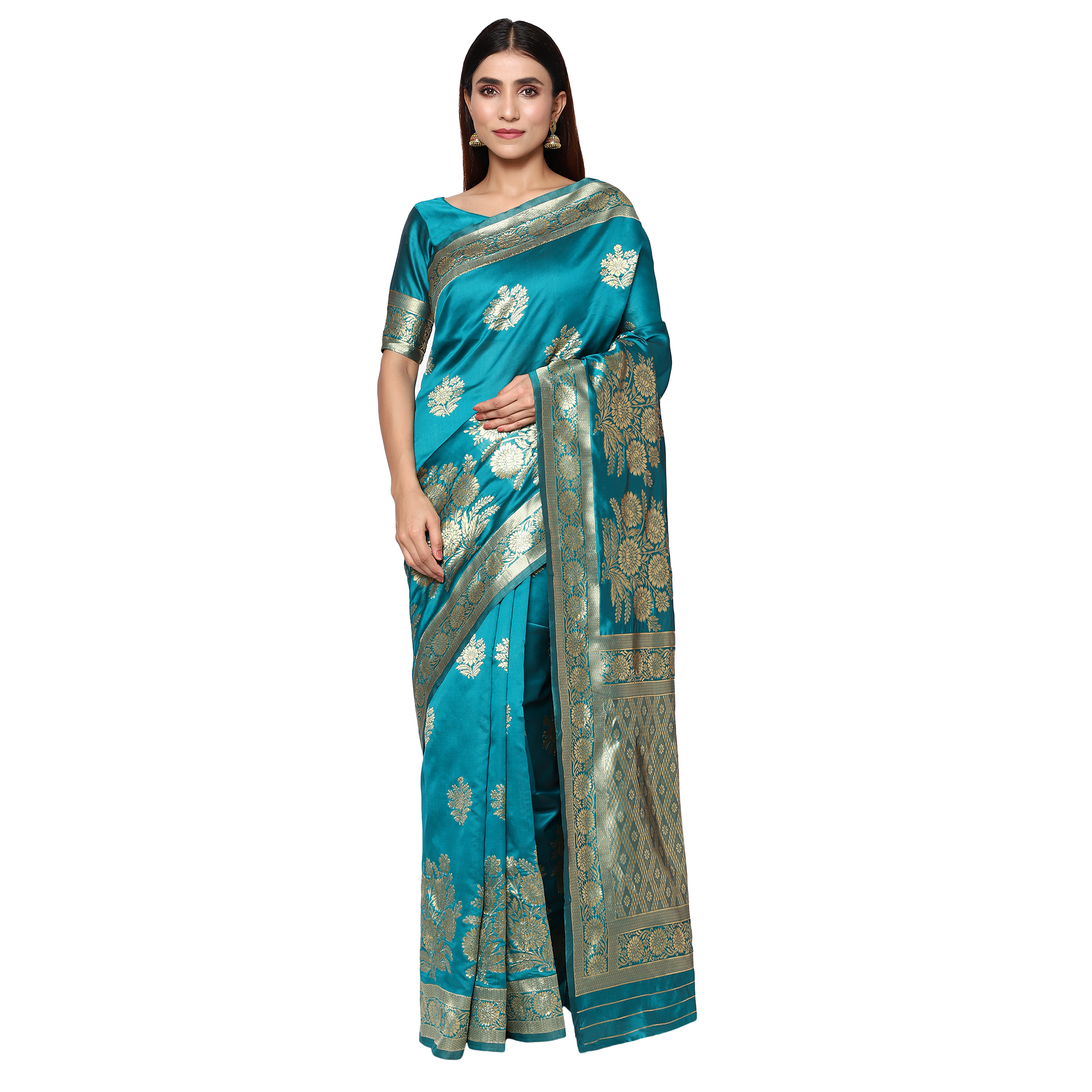 Glemora | Glemora Rama Designer Ethnic Wear Silk Blend Banarasi Traditional Saree