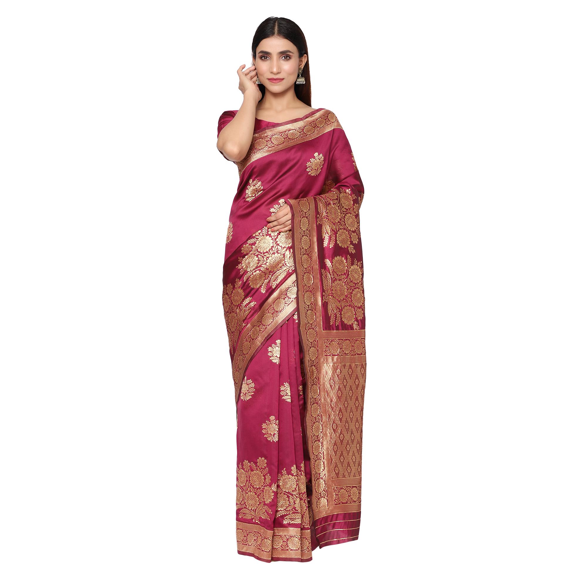 Glemora | Glemora Wine Designer Ethnic Wear Silk Blend Banarasi Traditional Saree